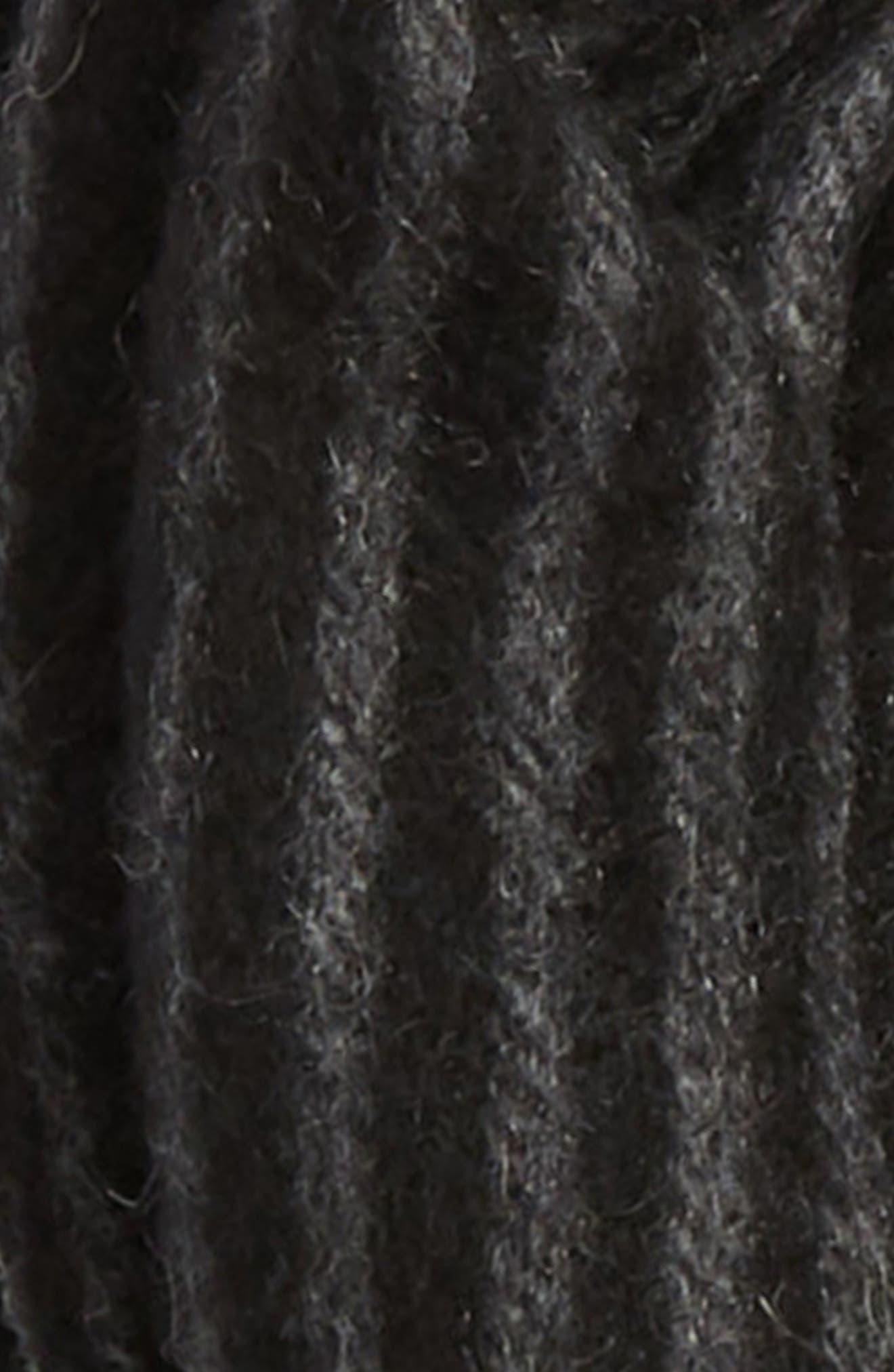 Ombré Stripe Cashmere Scarf,                             Alternate thumbnail 3, color,                             BLACK