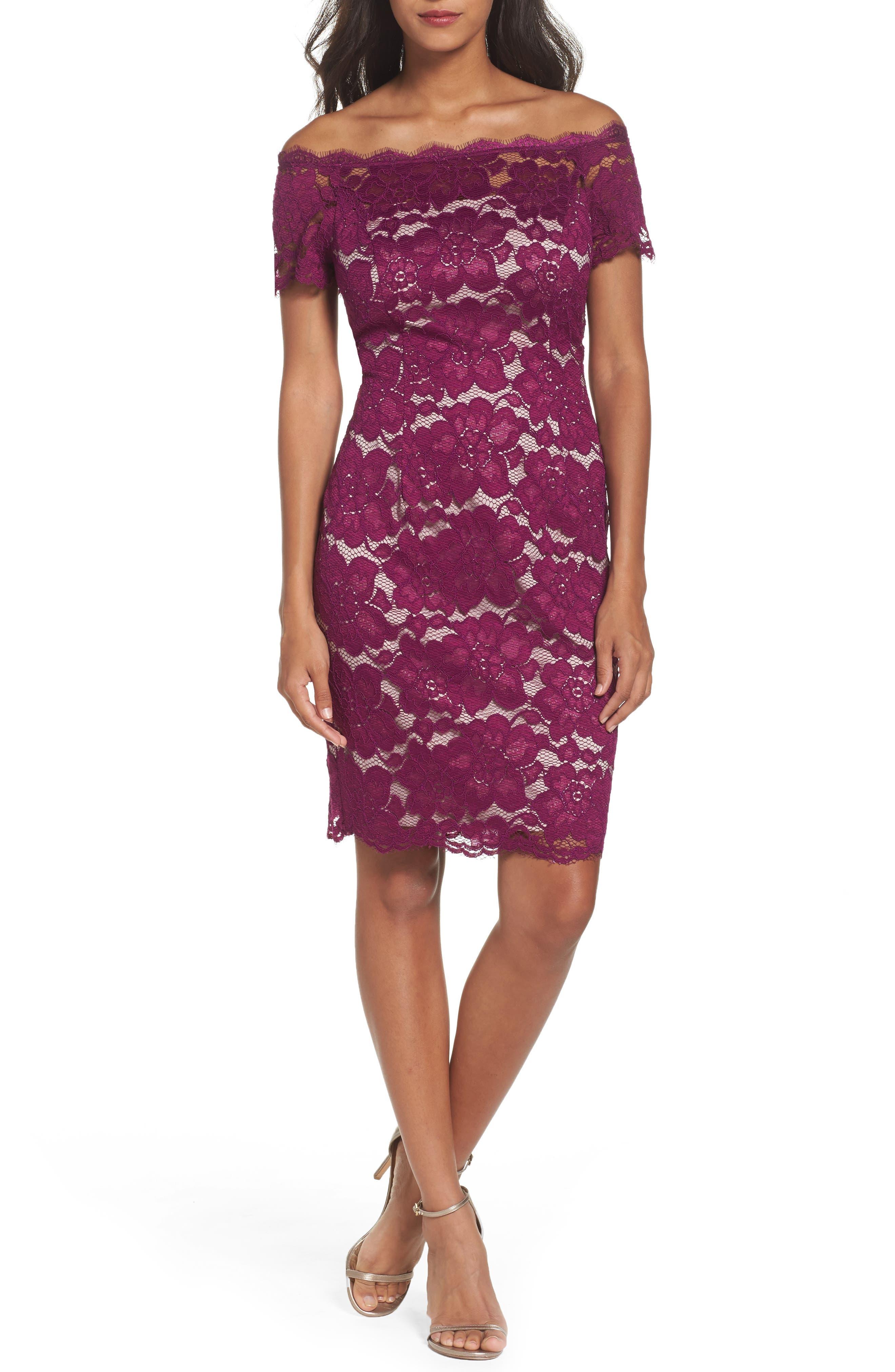 Off the Shoulder Lace Sheath Dress,                             Main thumbnail 4, color,
