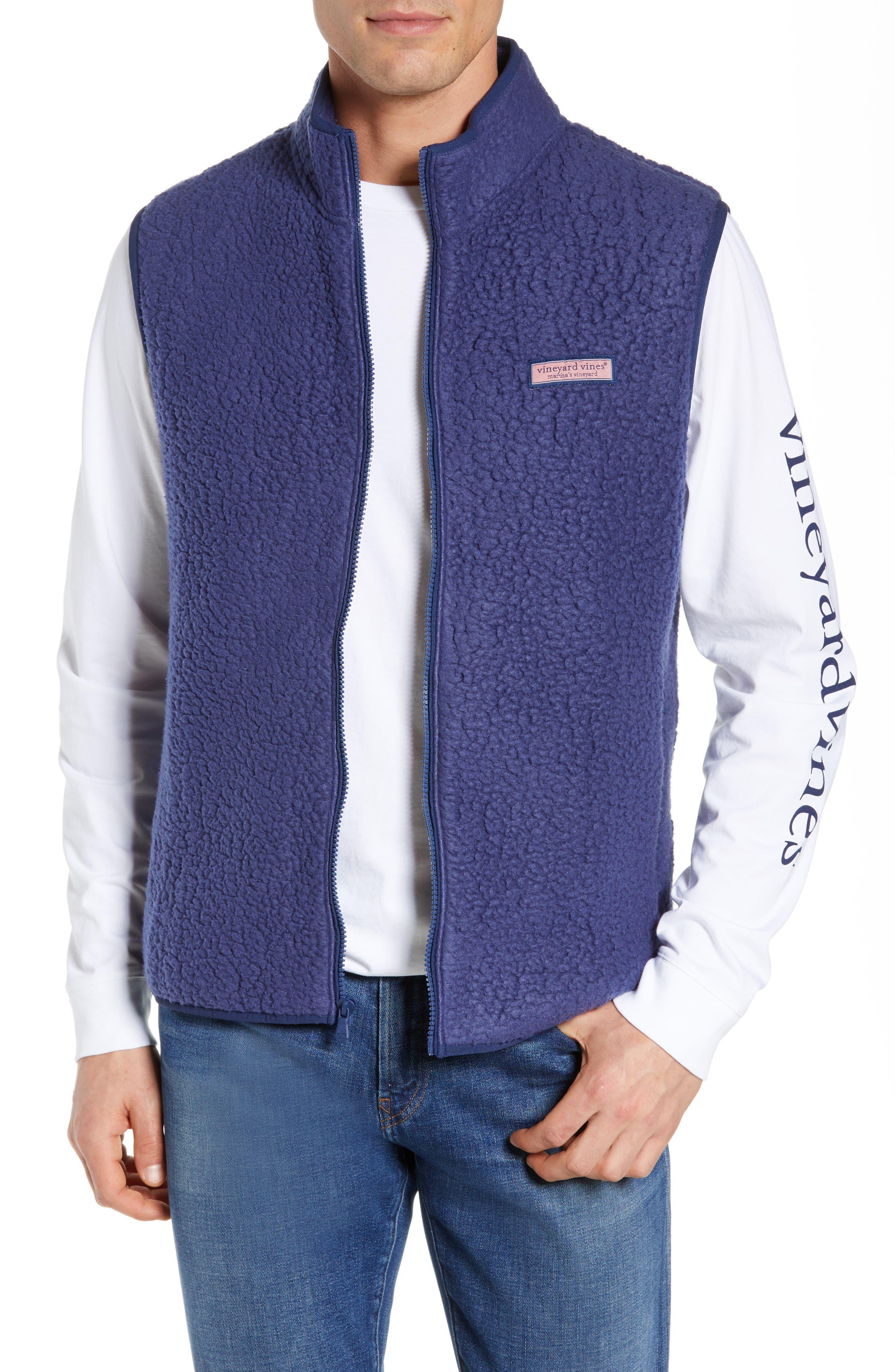 Vineyard Vines High File Fleece Vest, Blue