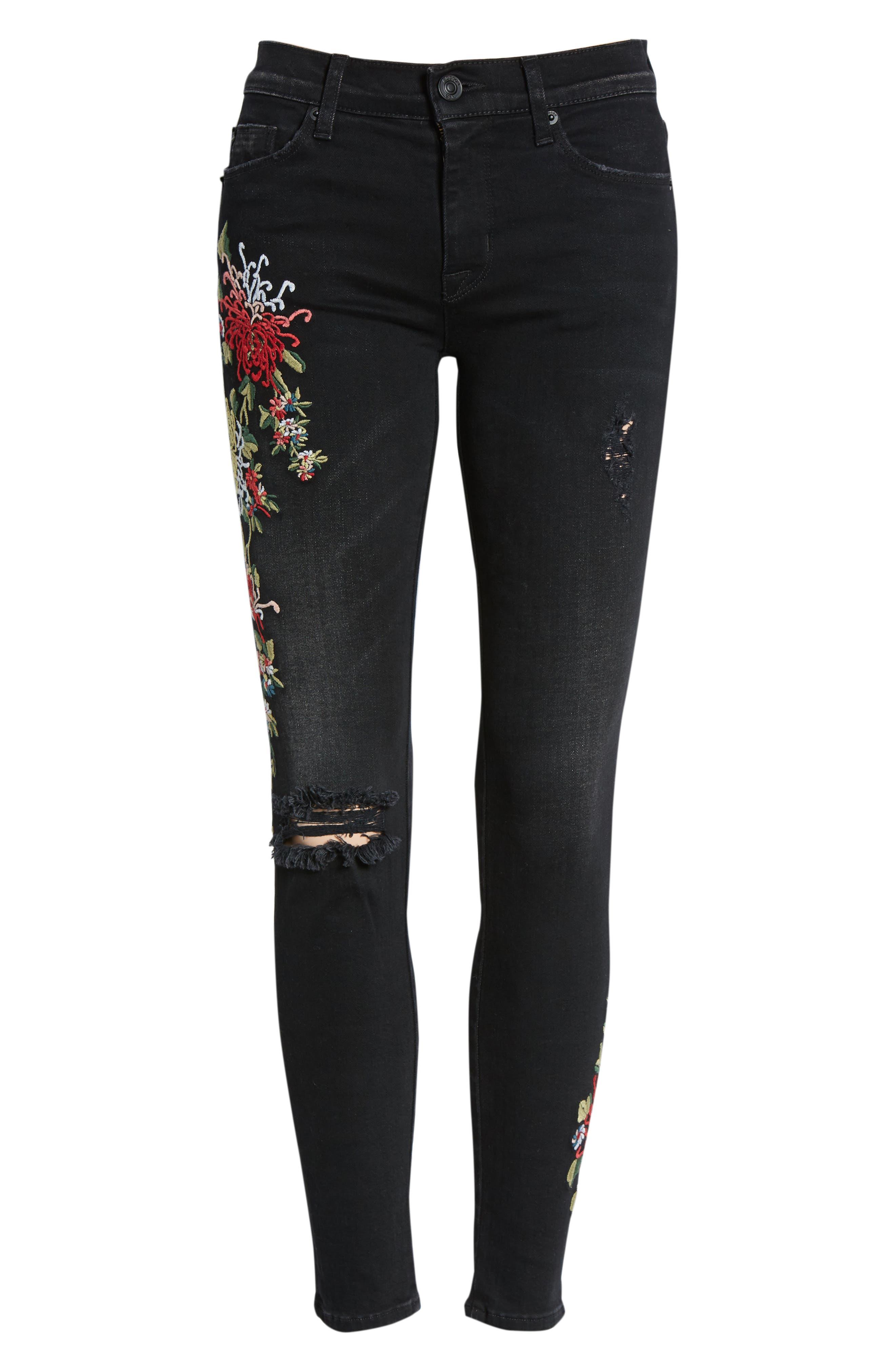 Nico Ankle Skinny Jeans,                             Alternate thumbnail 7, color,                             NOIR FLORET