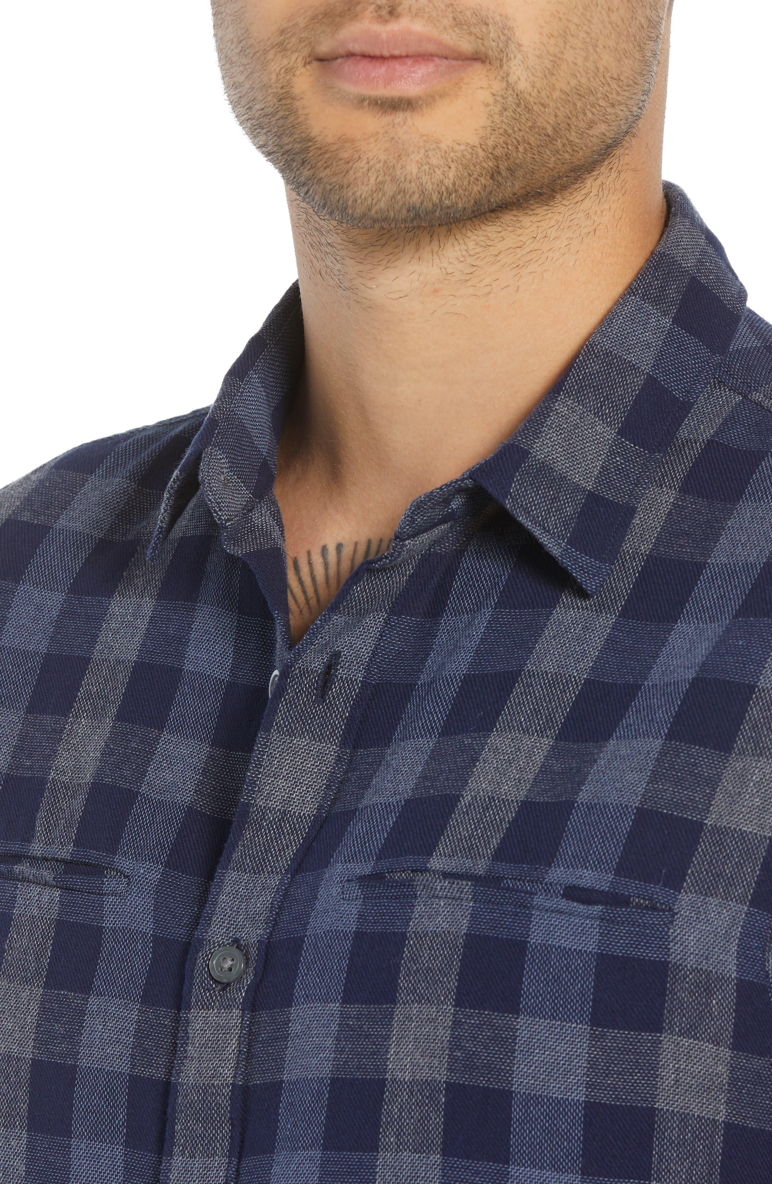JOHN VARVATOS STAR USA,                             Regular Fit Plaid Sport Shirt,                             Alternate thumbnail 2, color,                             NAVY