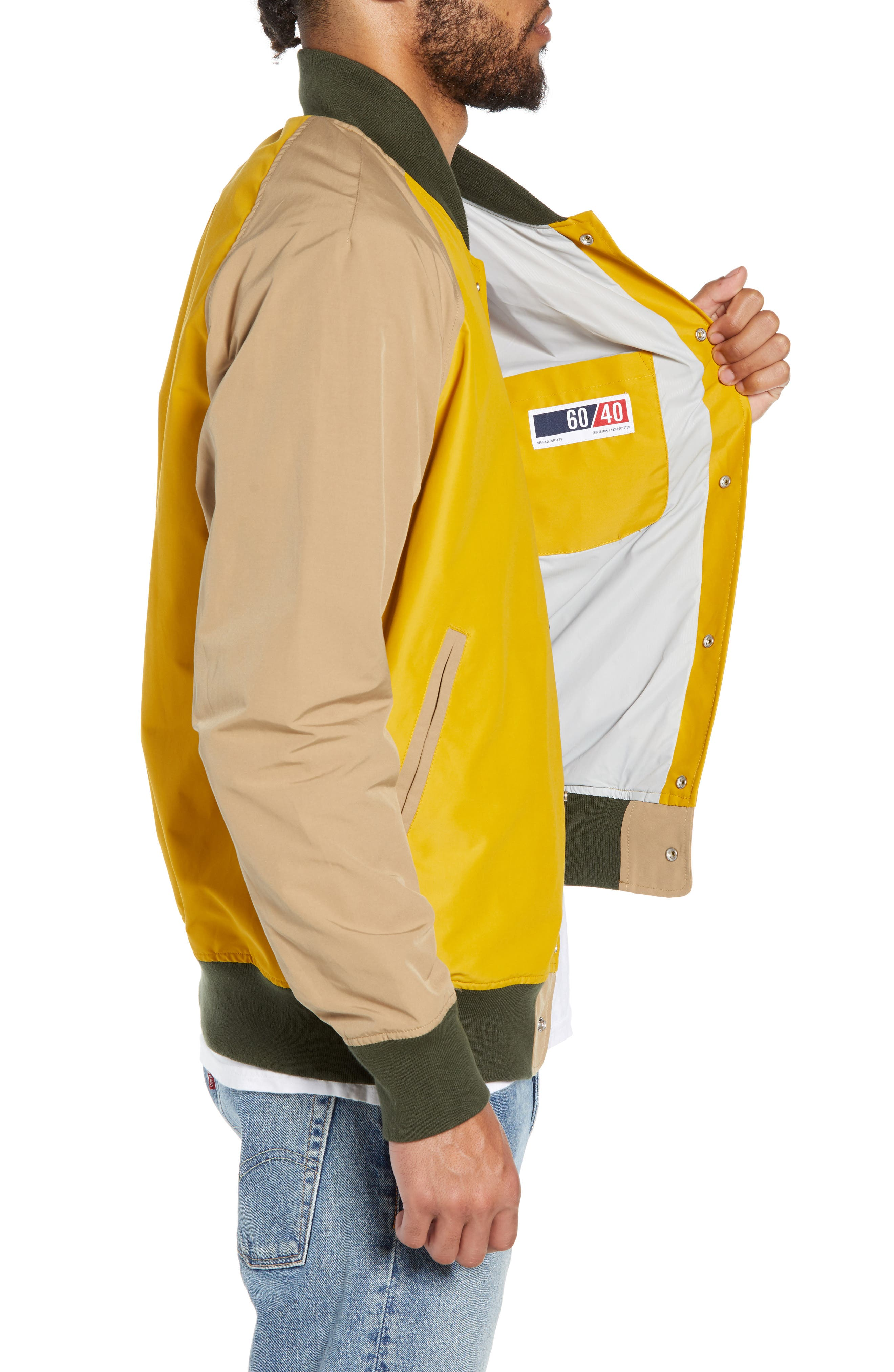 Varsity Jacket,                             Alternate thumbnail 3, color,                             ARROWWOOD/ KHAKI