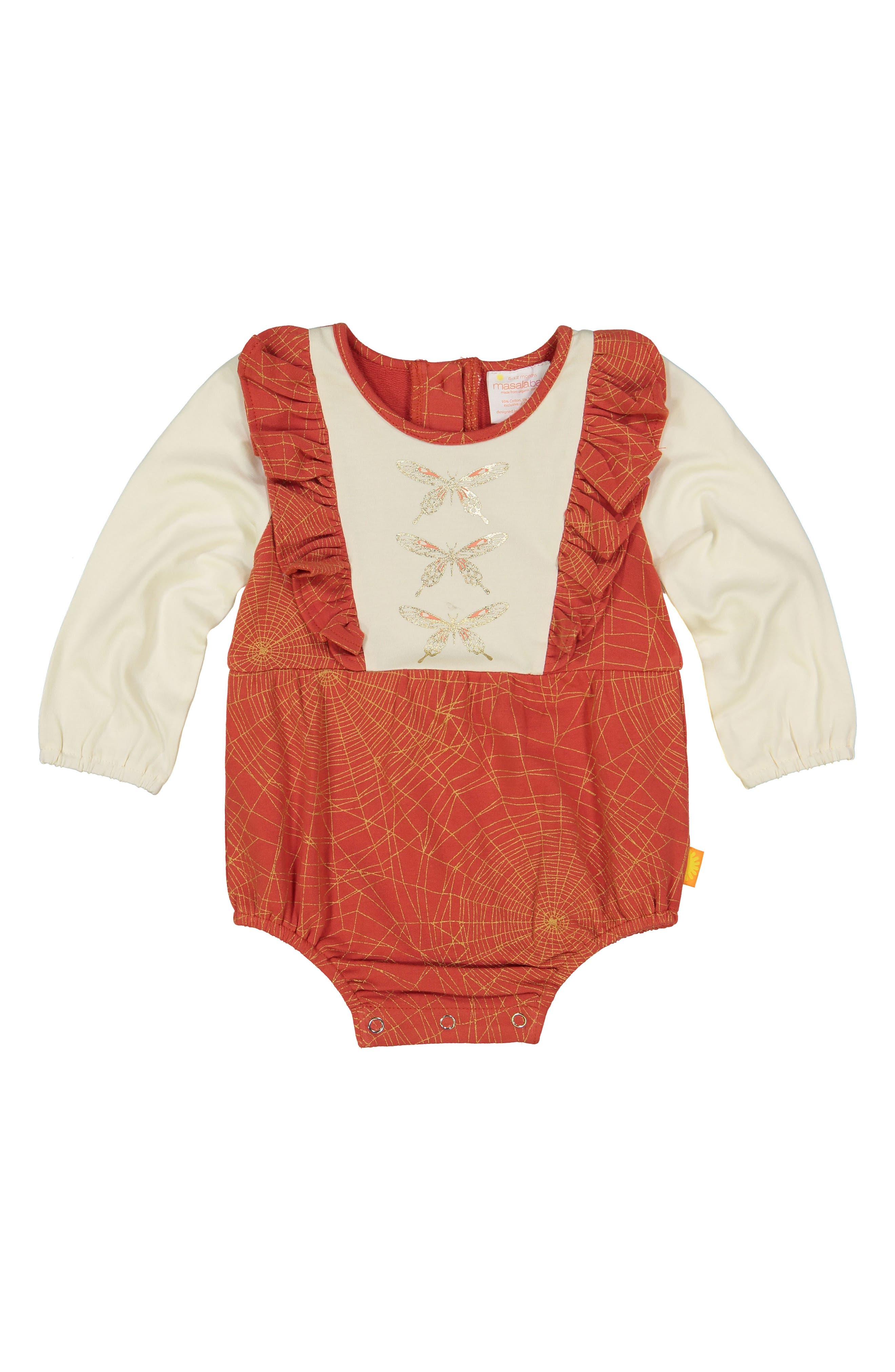 Maddy Stretch Organic Cotton Bodysuit,                             Alternate thumbnail 2, color,                             RED