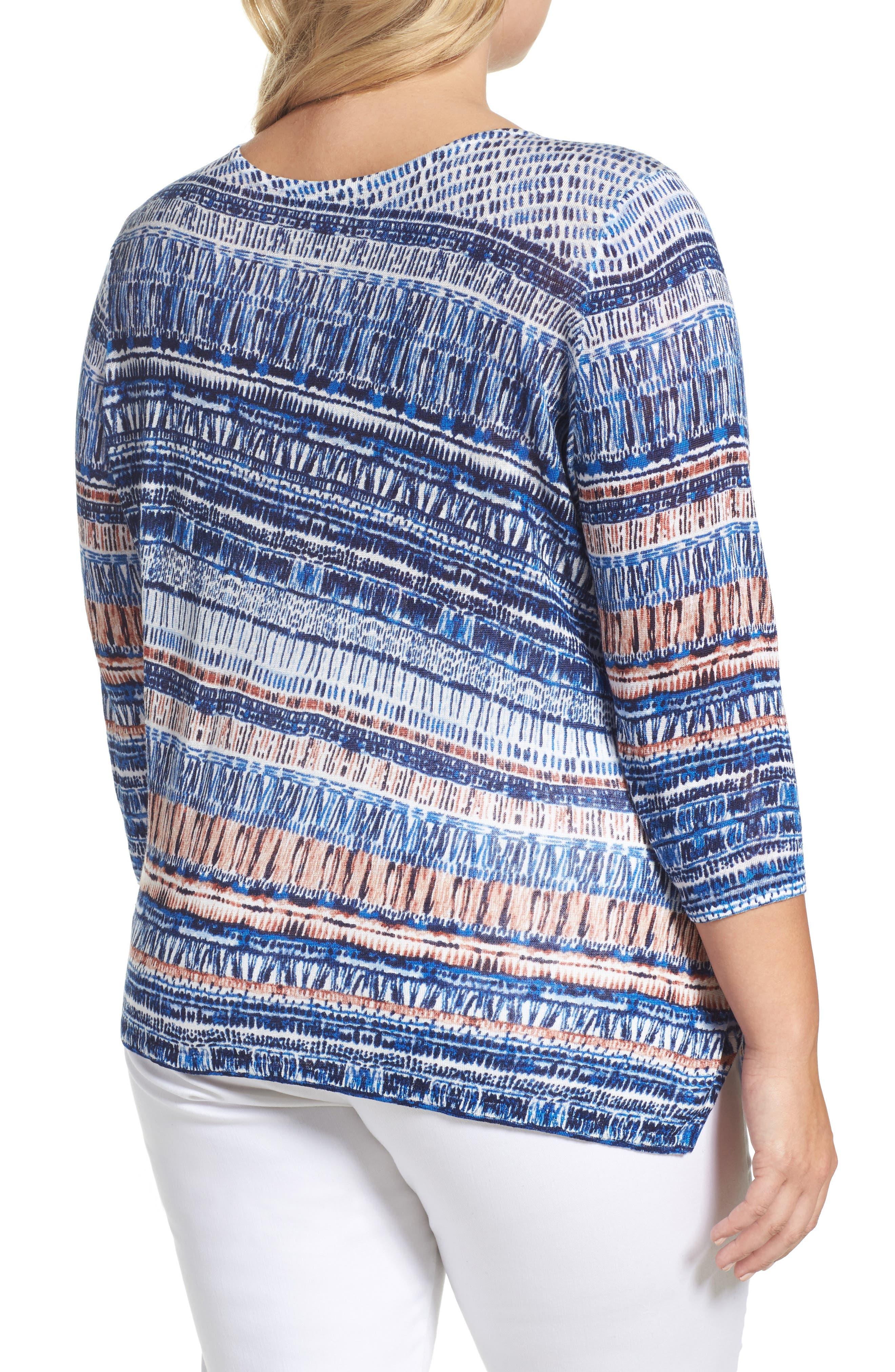 Oceanside Print Linen Blend Sweater,                             Alternate thumbnail 2, color,                             MULTI