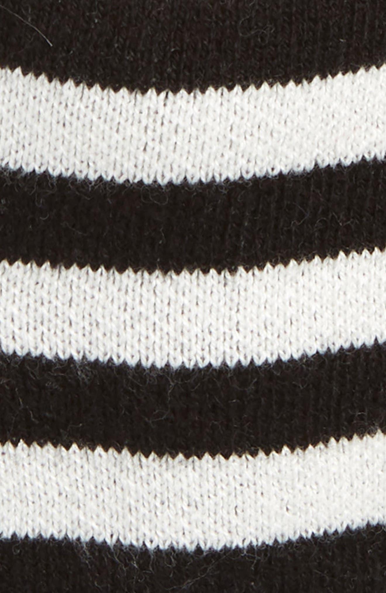 Tassel Ear Flap Hat,                             Alternate thumbnail 2, color,                             BLACK- IVORY STRIPE