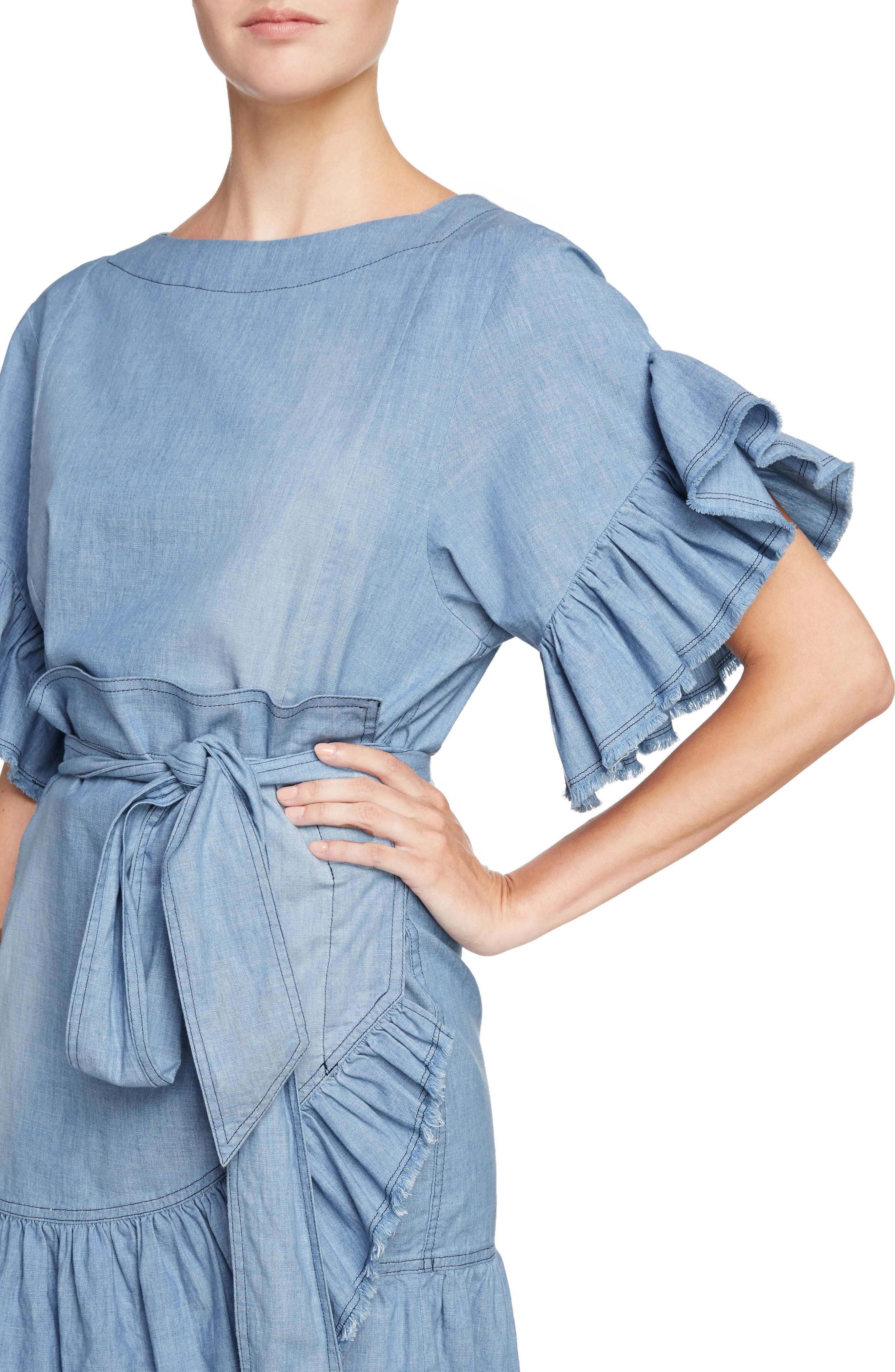 Isabel Marant Étoile Lelicia Denim Ruffle Dress,                             Alternate thumbnail 4, color,                             400
