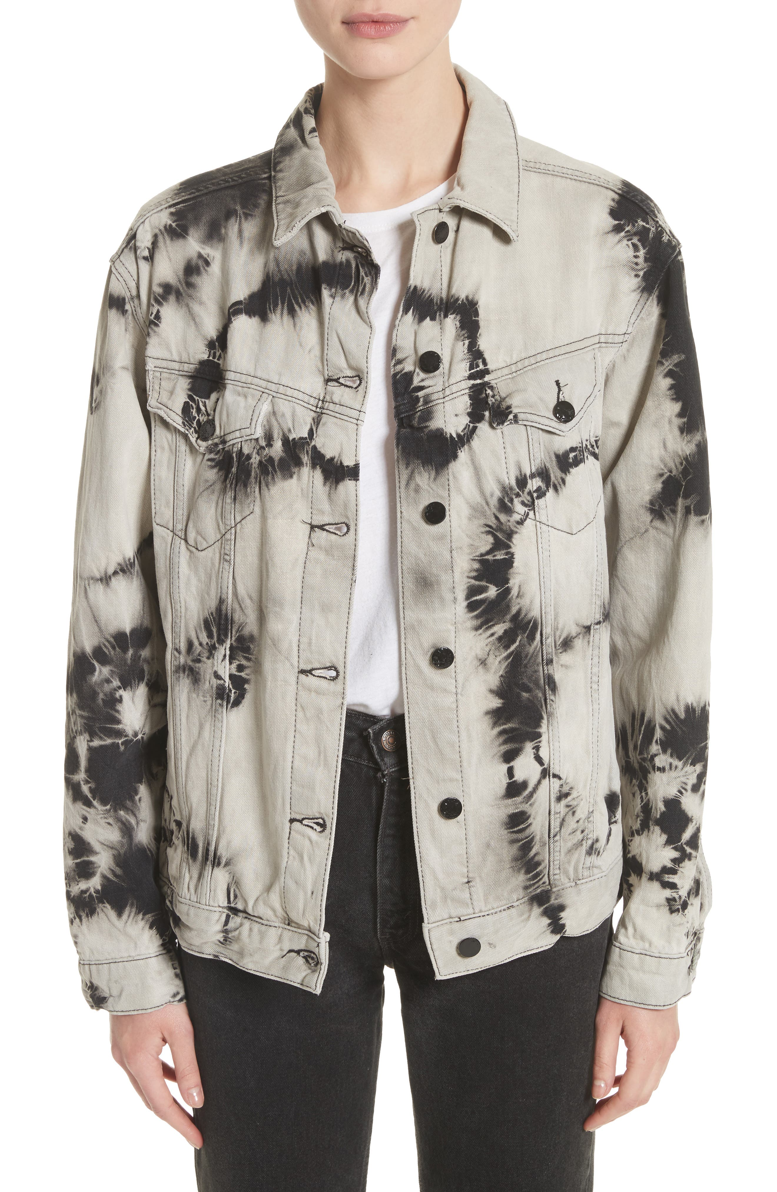 Western Tie Dye Denim Jacket,                             Main thumbnail 1, color,                             001