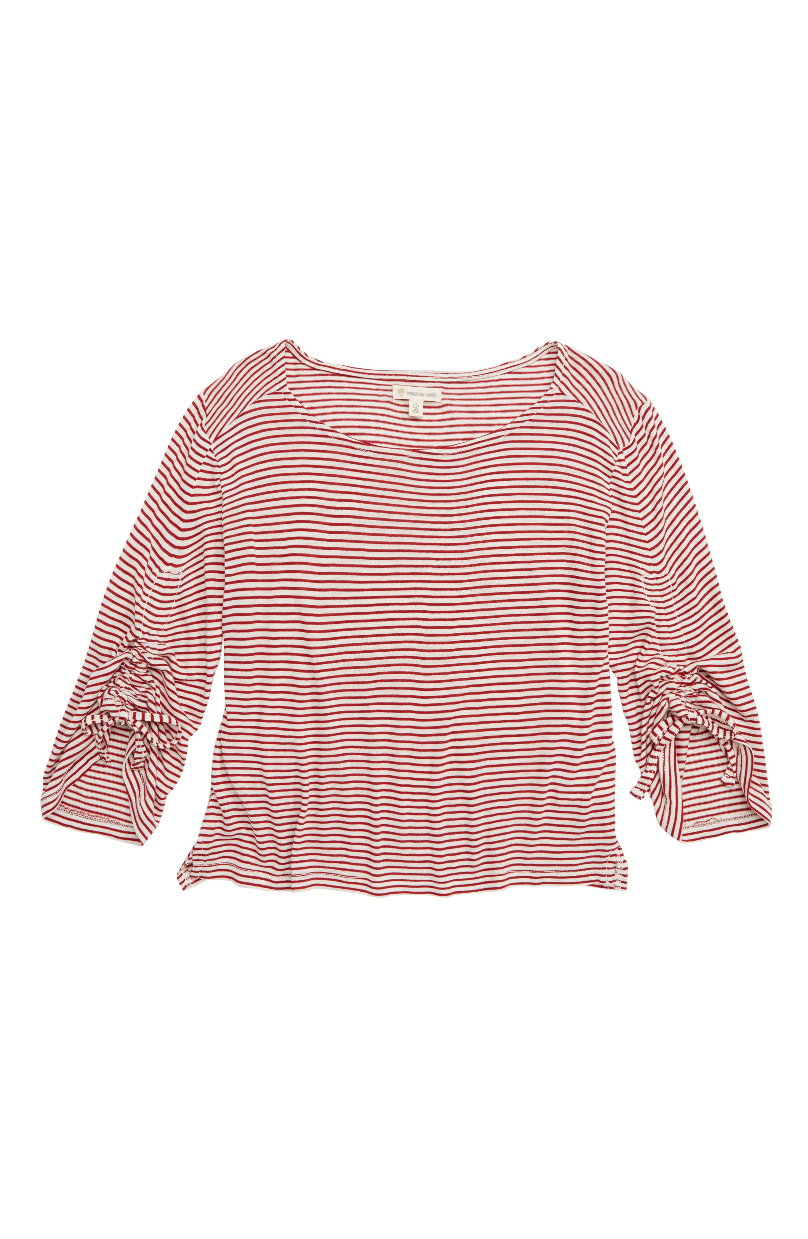 Ruched Sleeve Tee,                             Main thumbnail 1, color,                             RED ROSEWOOD- IVORY STRIPE