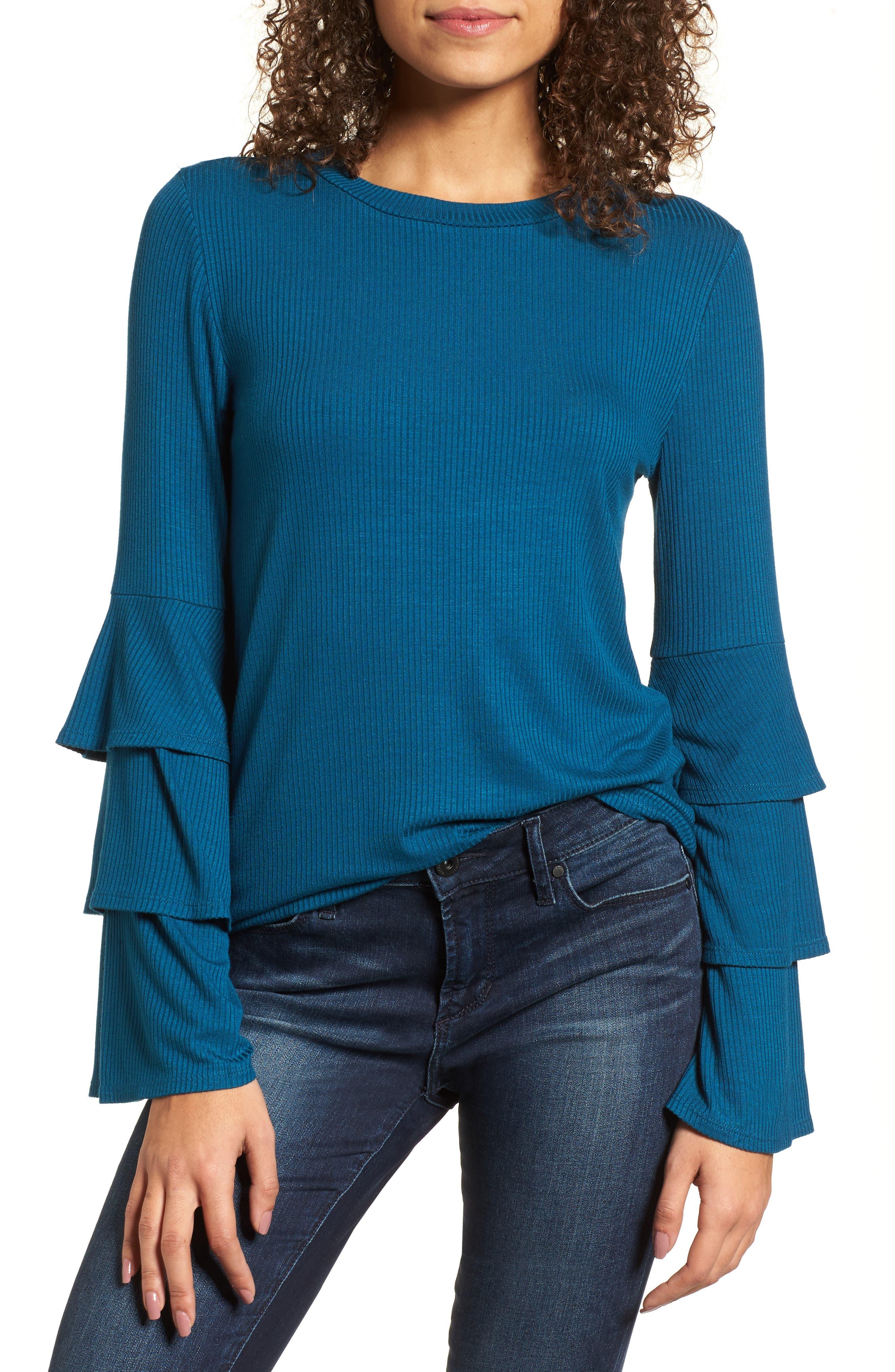 Ruffle Sleeve Ribbed Sweater,                             Main thumbnail 3, color,