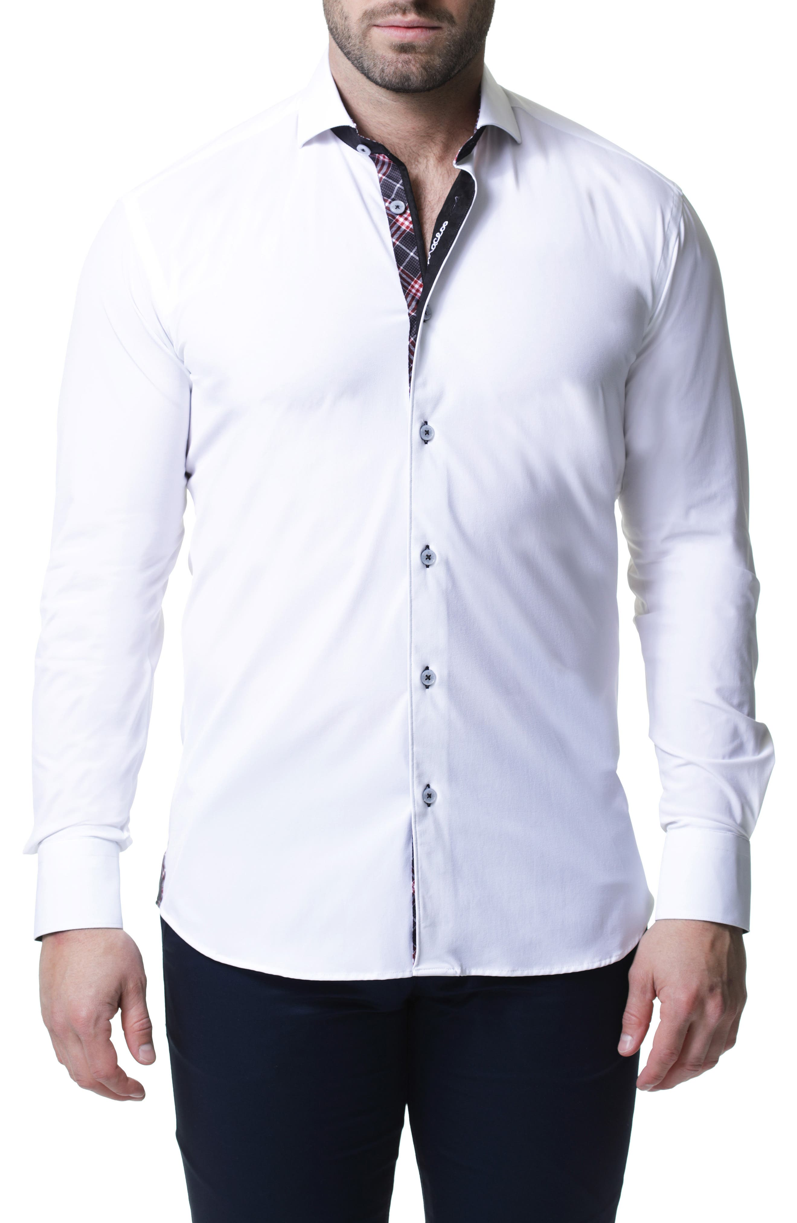 Wall Street 4-Way Stretch White Check Performance Sport Shirt, Main, color, WHITE
