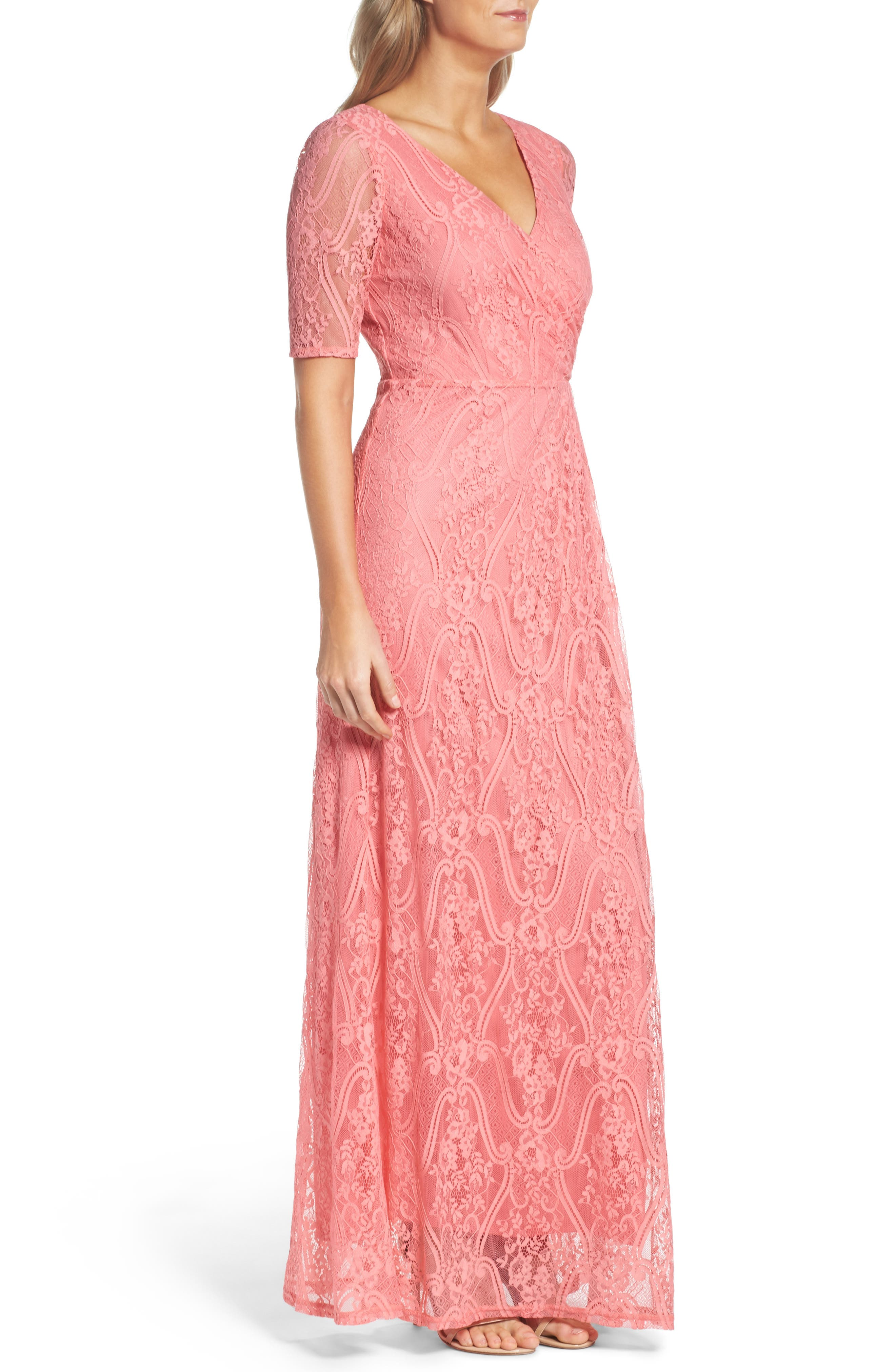 Lace Faux Wrap Gown,                             Alternate thumbnail 3, color,                             655