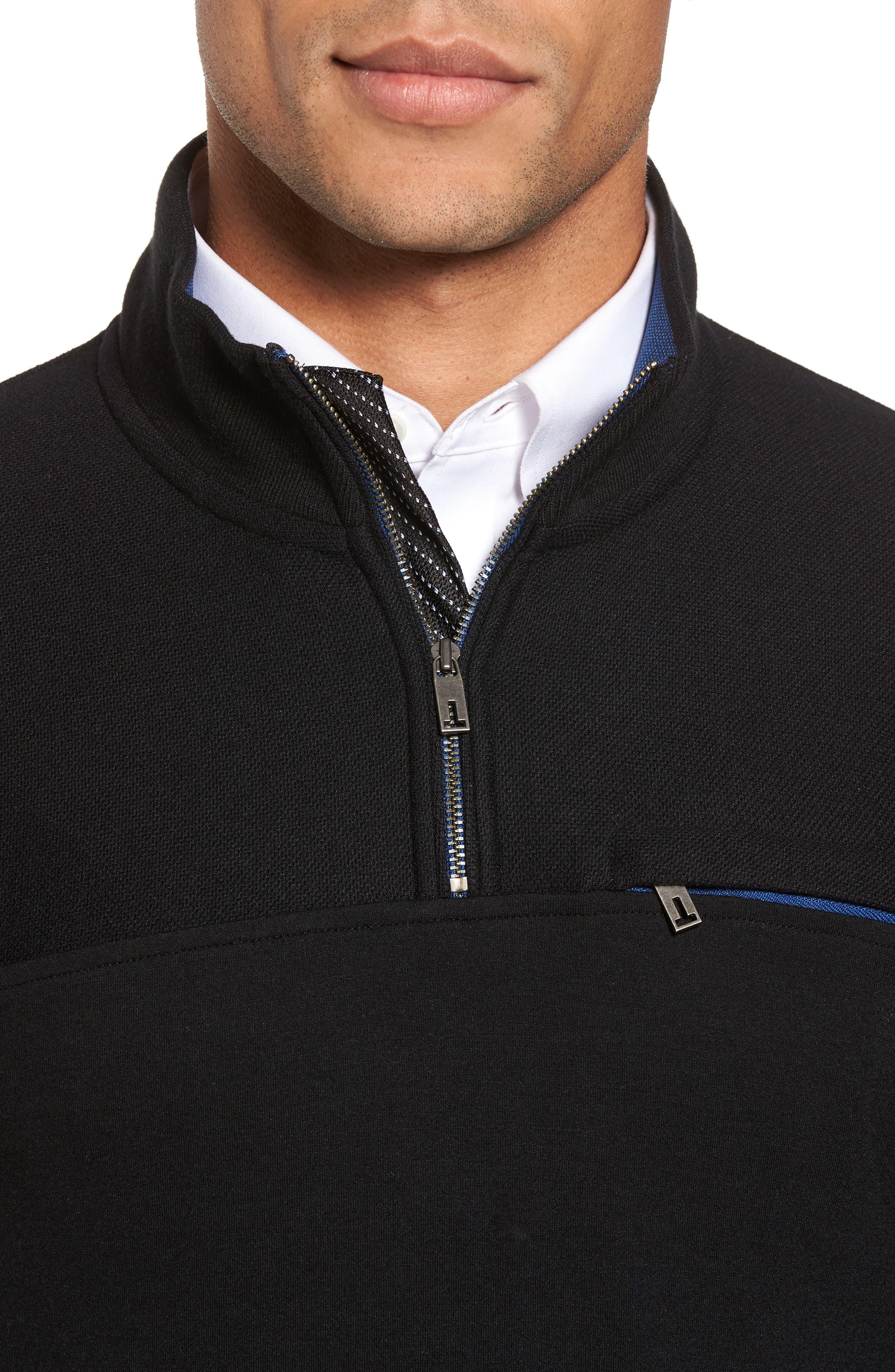 Livstay Slim Fit Quarter Zip Pullover,                             Alternate thumbnail 4, color,                             001