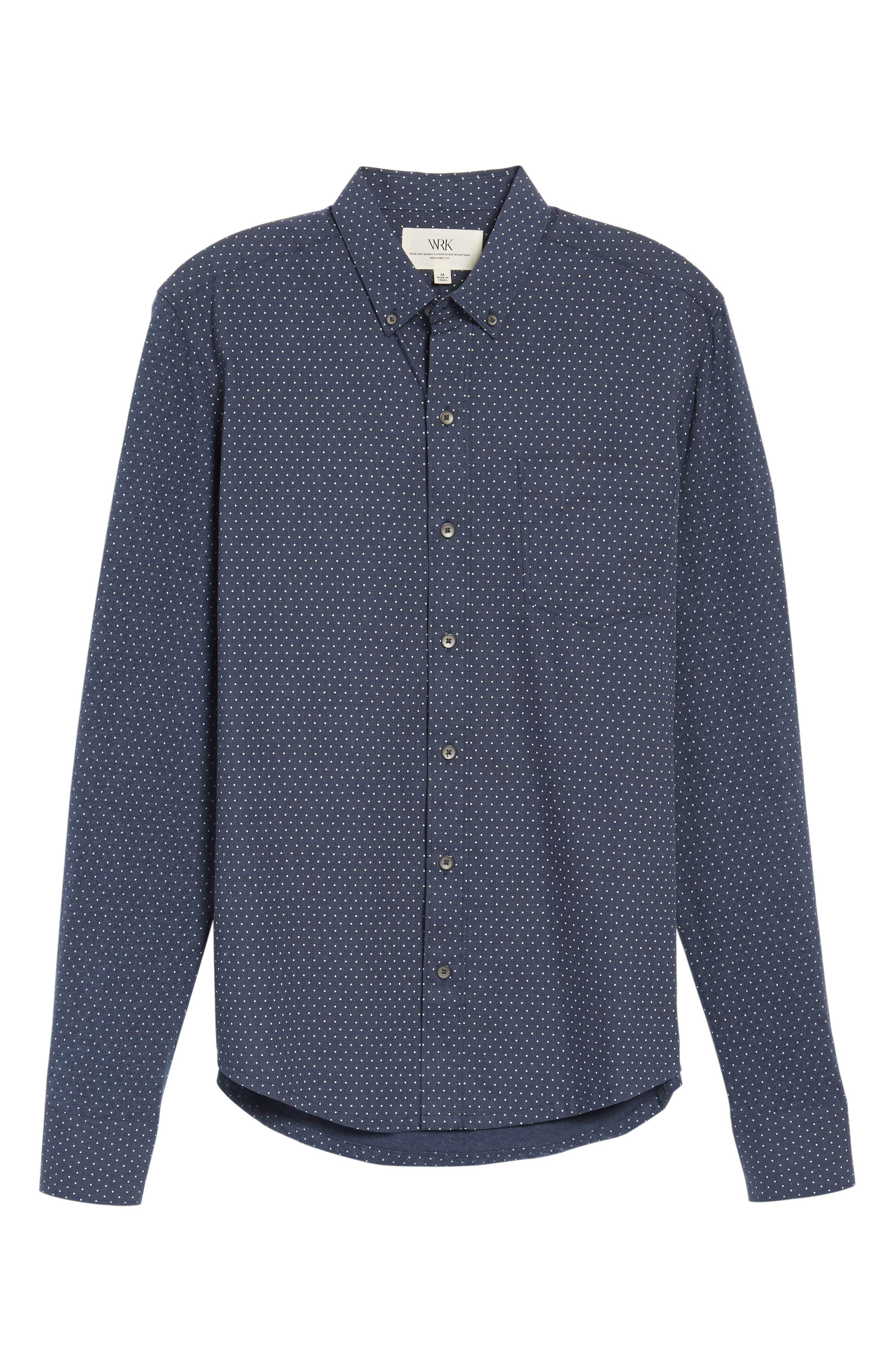 'Reworkd' Trim Fit Dot Print Mixed Media Sport Shirt,                             Alternate thumbnail 21, color,