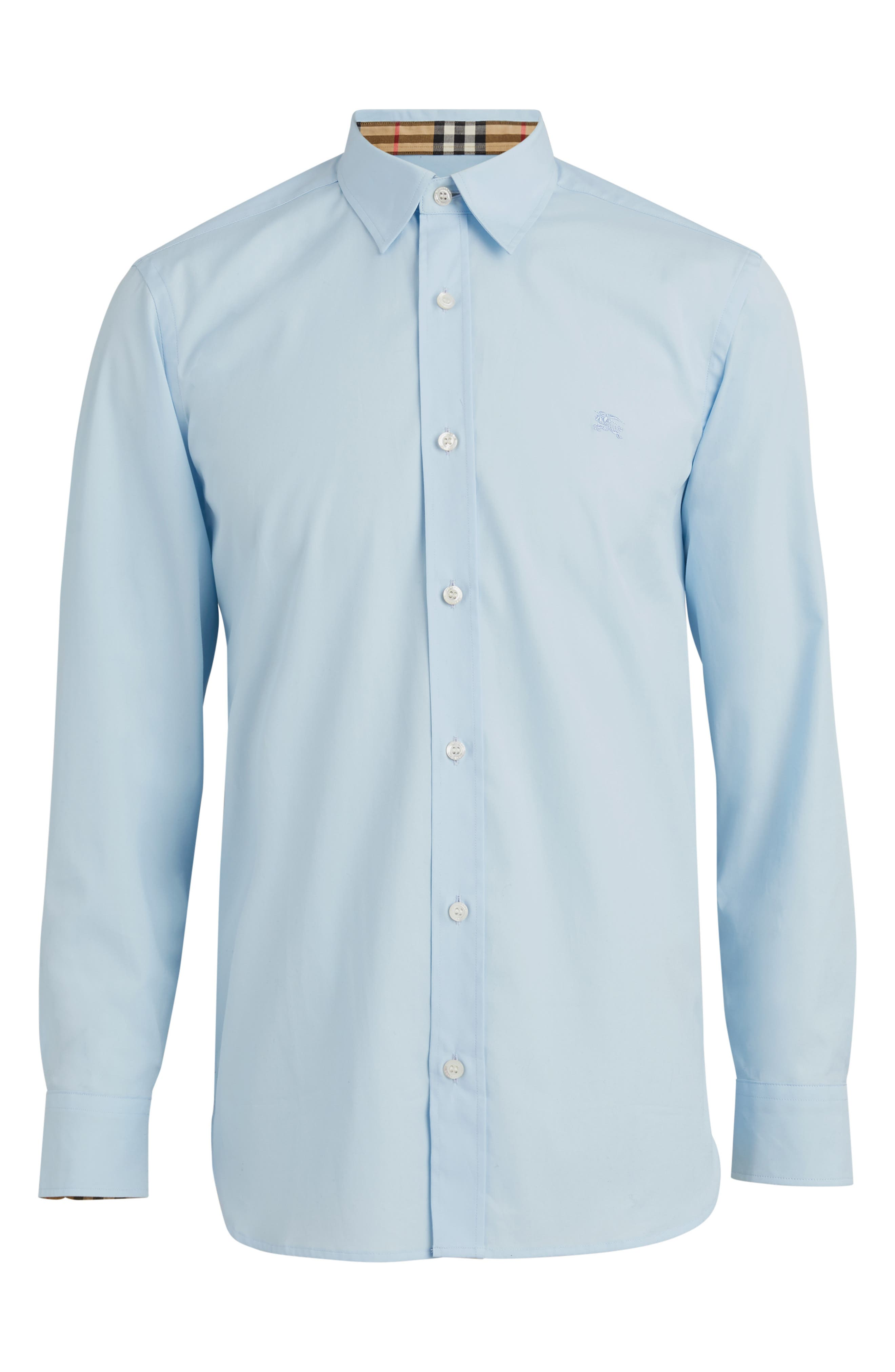 BURBERRY,                             William Stretch Poplin Sport Shirt,                             Alternate thumbnail 4, color,                             PALE BLUE