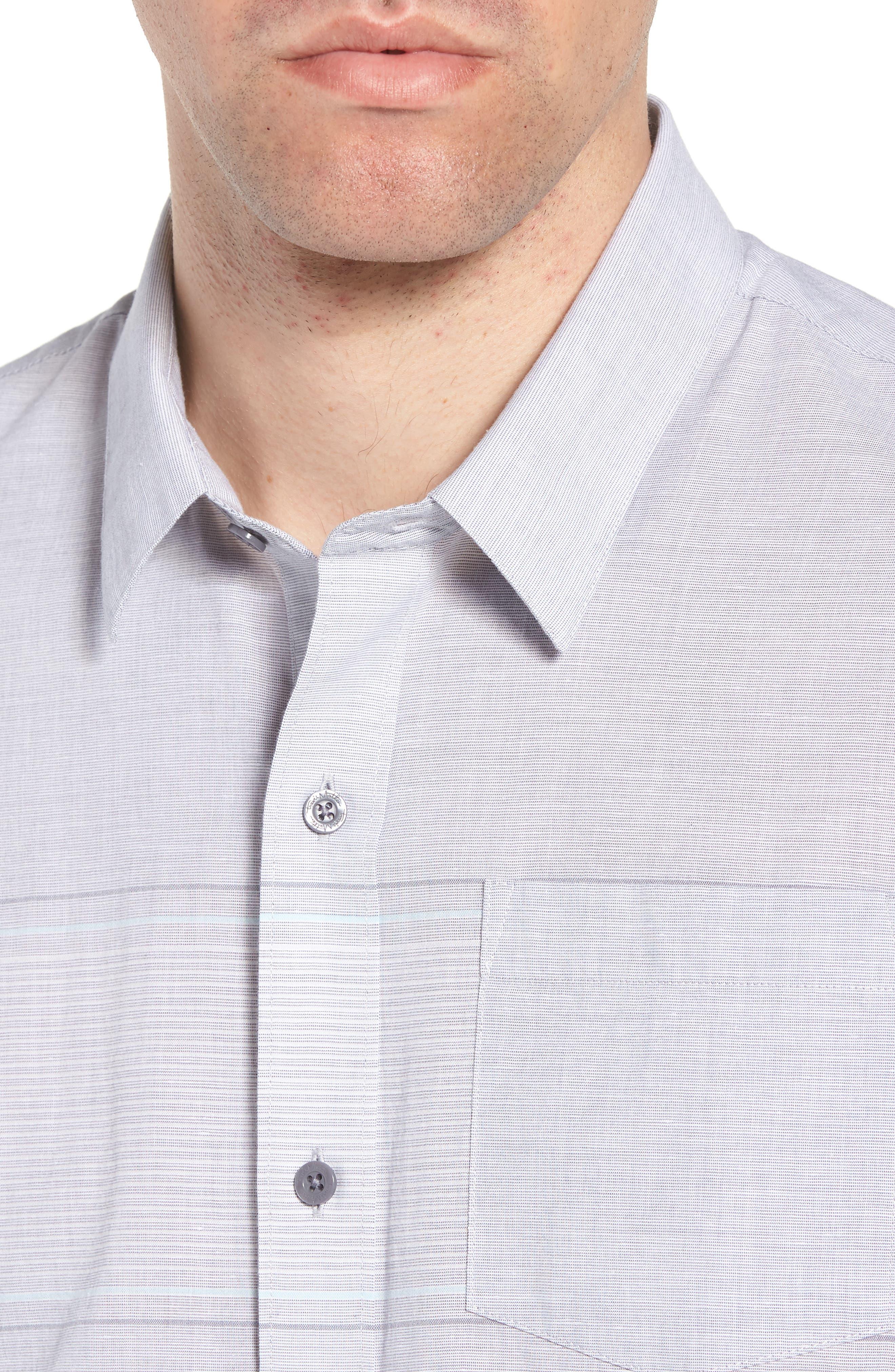 Oscar Regular Fit Sport Shirt,                             Alternate thumbnail 4, color,                             HEATHER GRASILLE