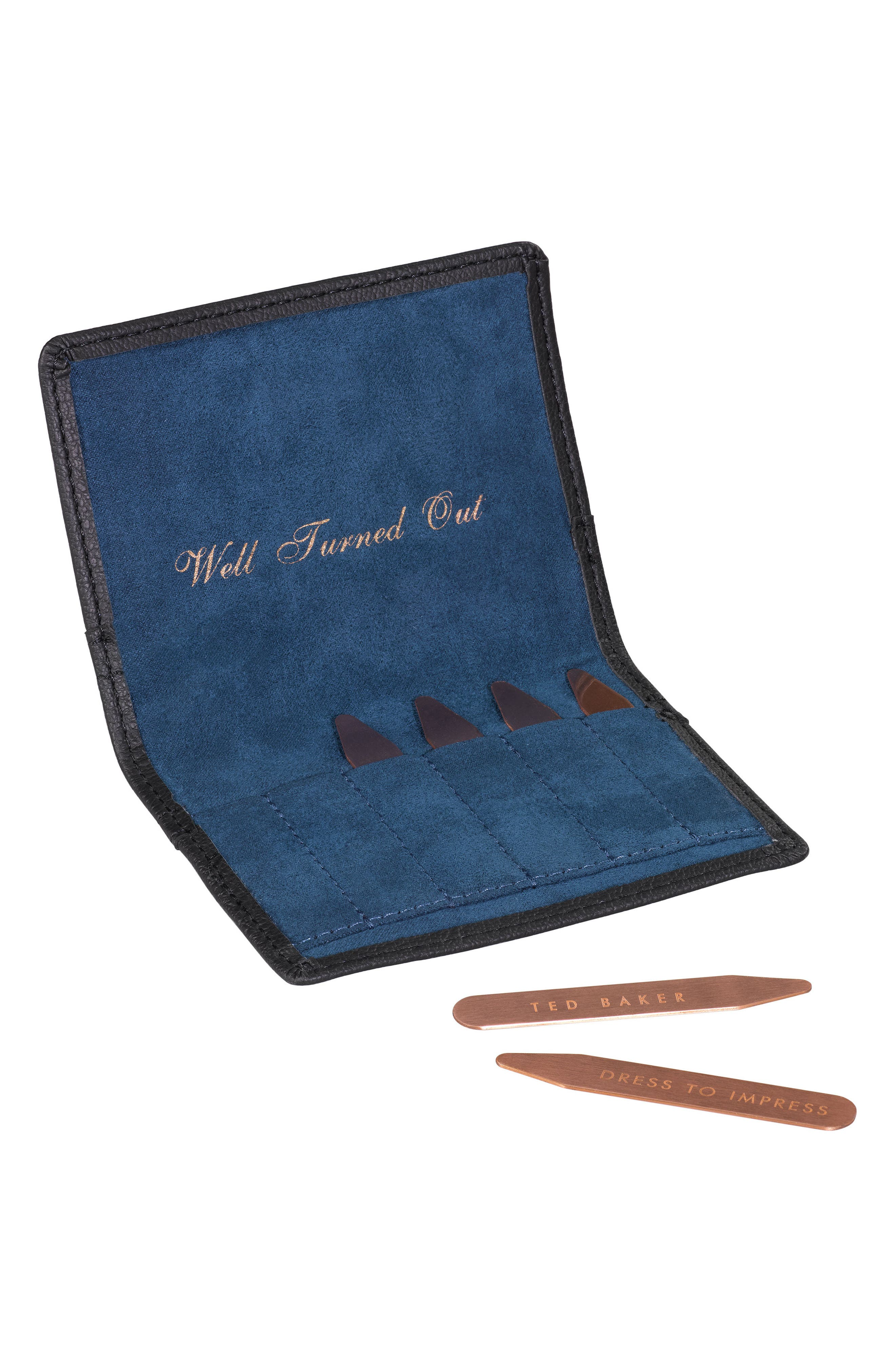 Ted Baker London Set of 6 Collar Stays in Brogued Pouch,                             Alternate thumbnail 2, color,                             001