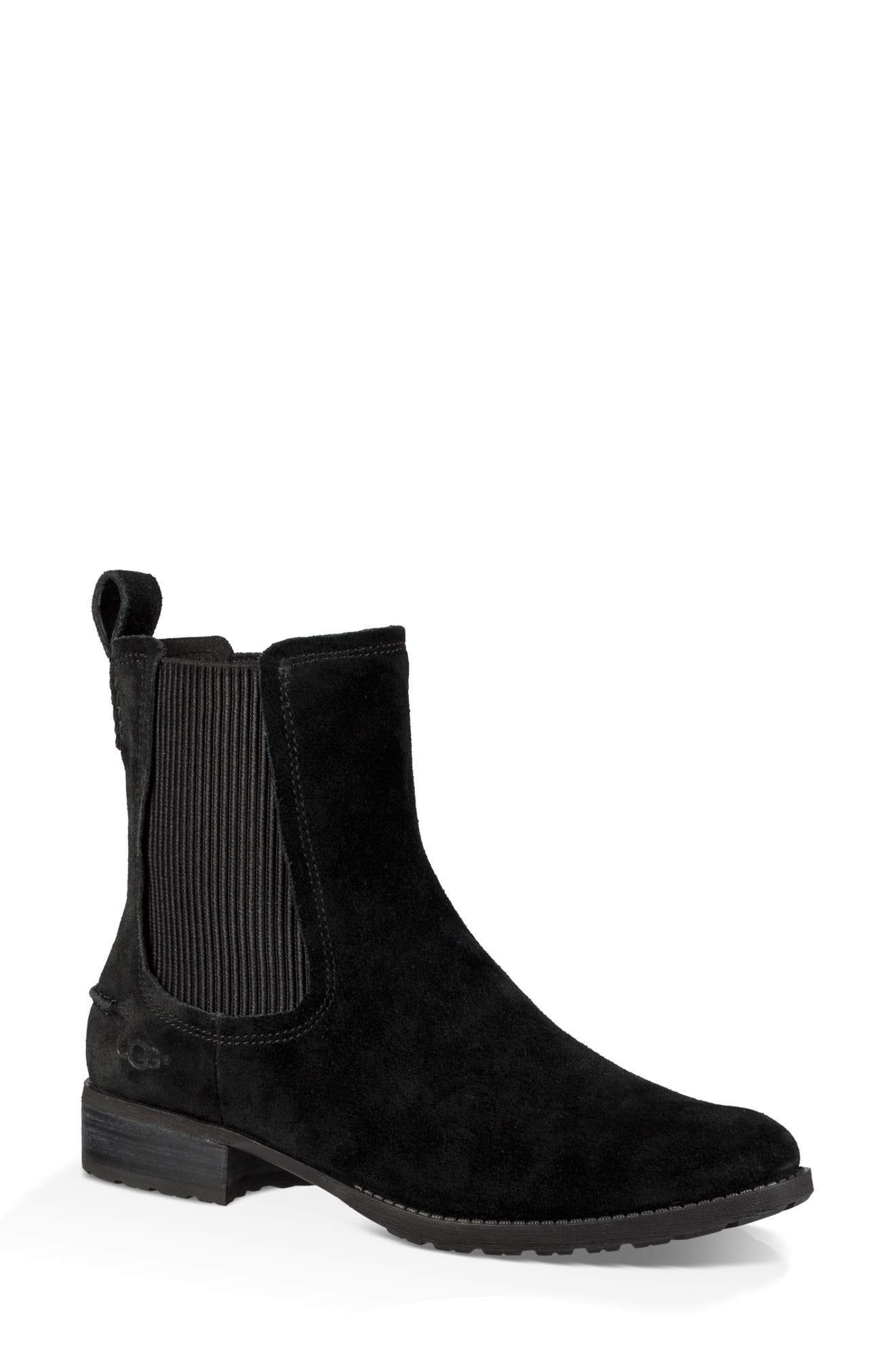 Hillhurst Chelsea Boot,                             Main thumbnail 1, color,                             BLACK SUEDE
