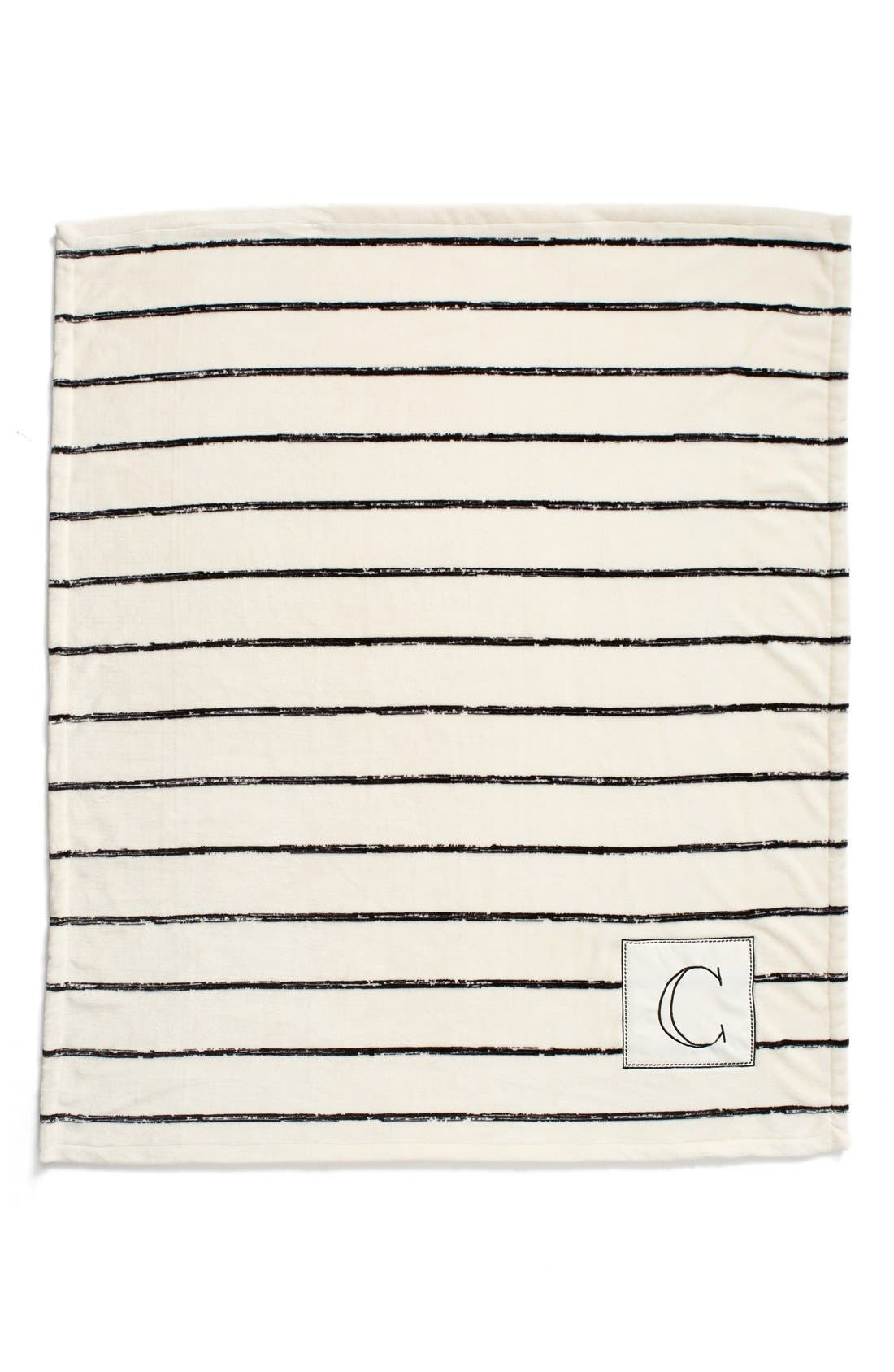 Plush Stripe Monogram Throw Blanket,                             Alternate thumbnail 2, color,                             001