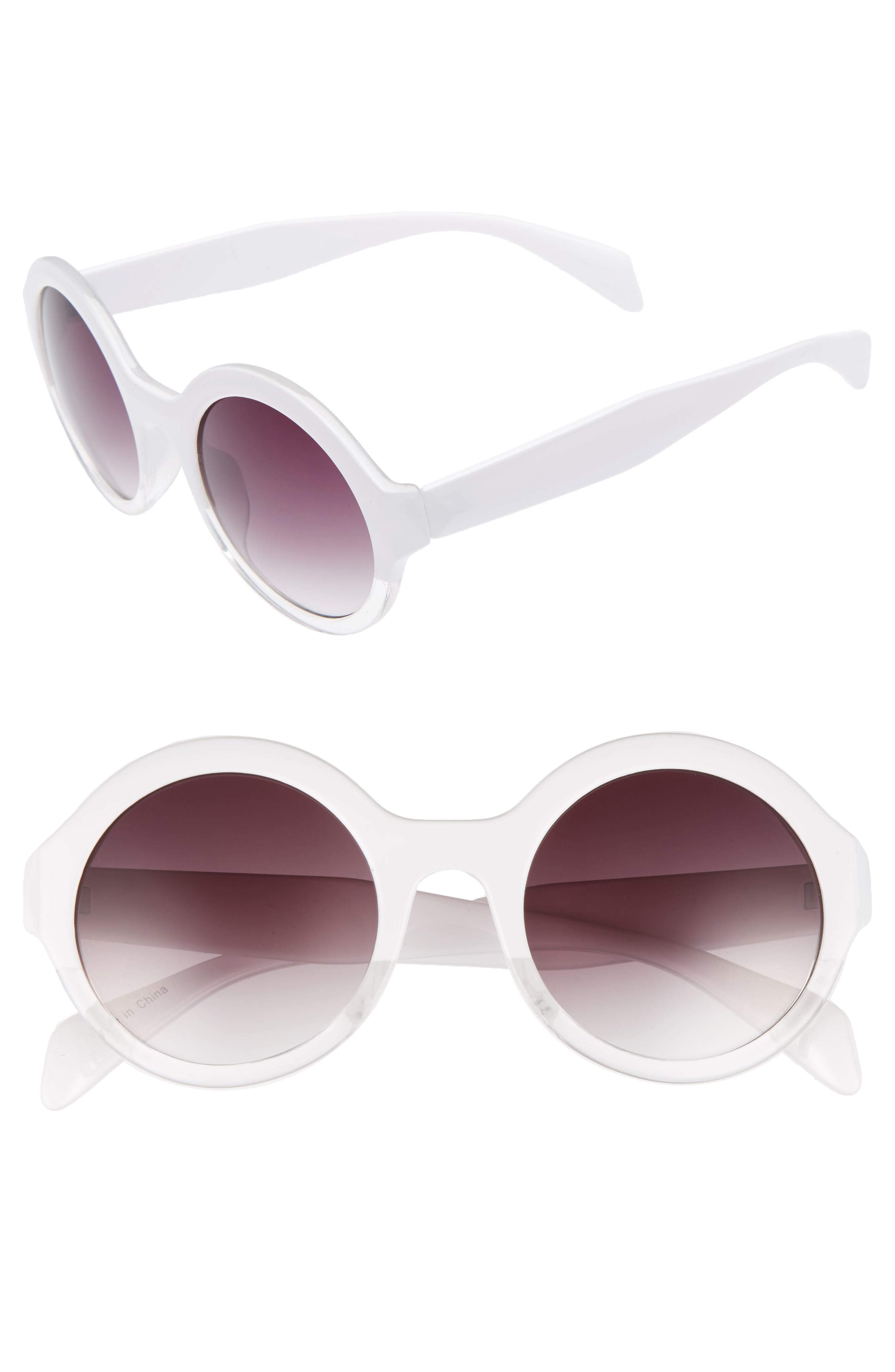 50mm Round 2 Tone Sunglasses,                             Main thumbnail 1, color,                             100