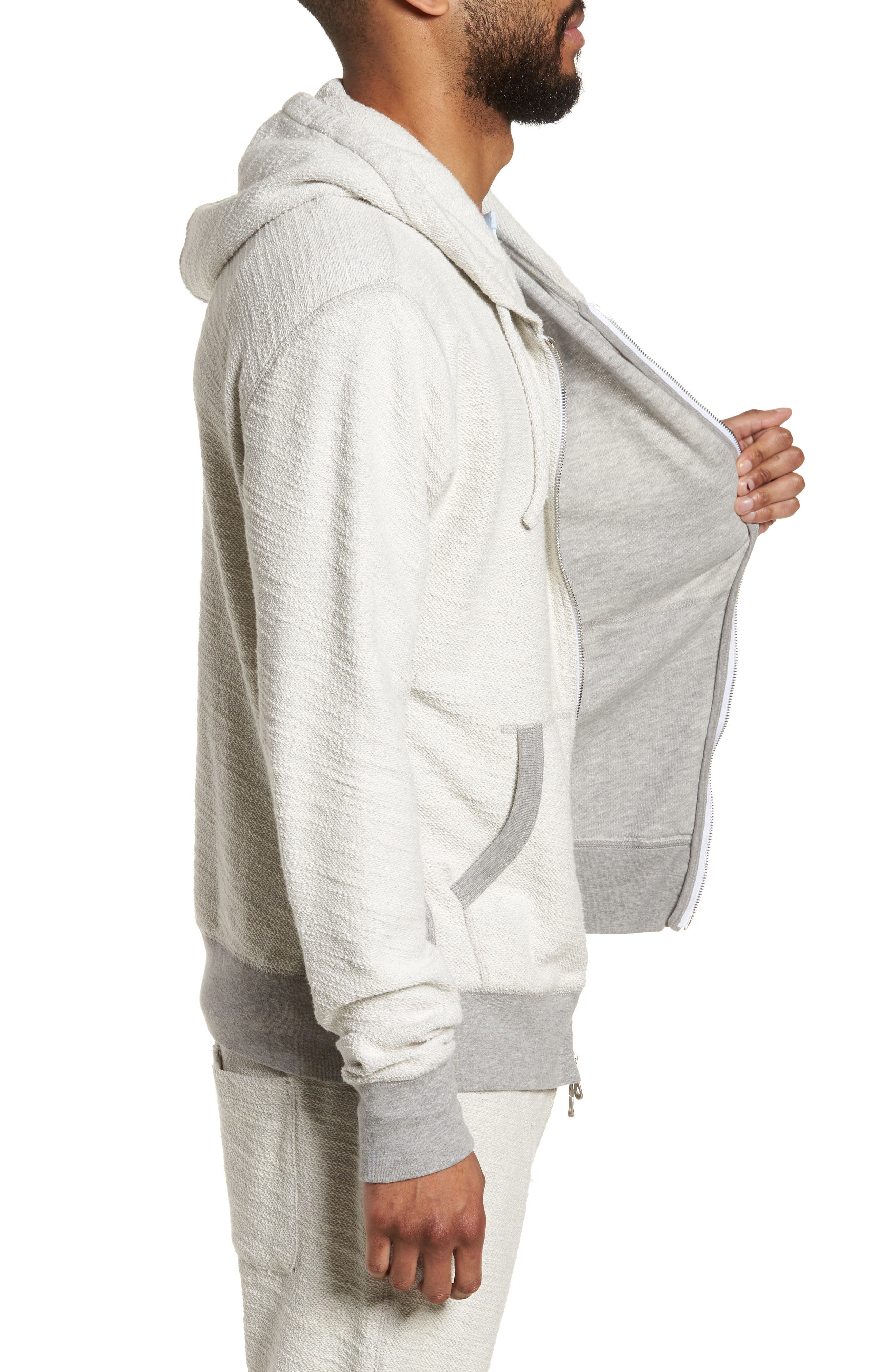 Terrycloth Cotton Blend Zip Hoodie,                             Alternate thumbnail 8, color,