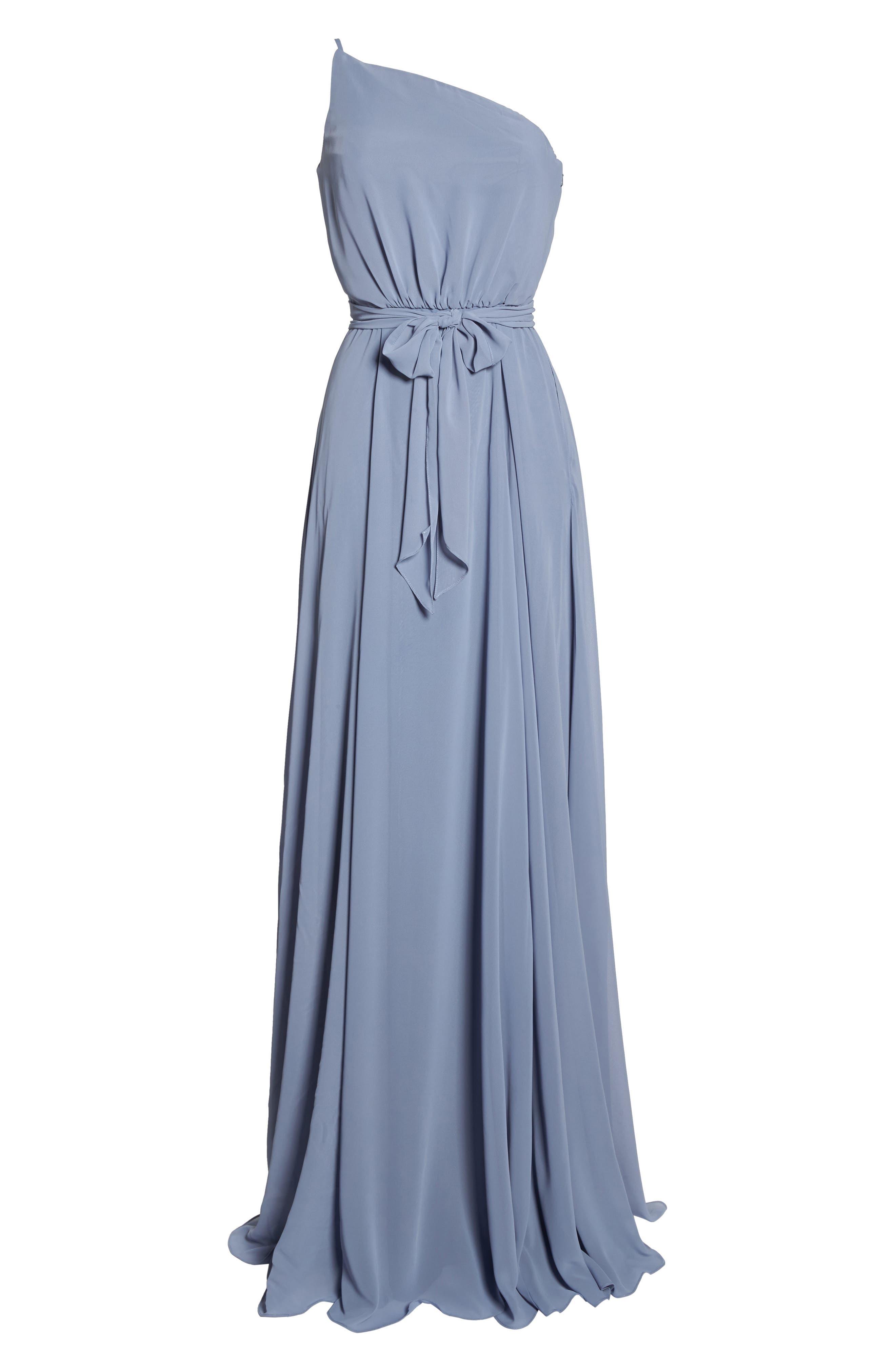 One-Shoulder Chiffon A-Line Gown,                             Alternate thumbnail 6, color,                             020