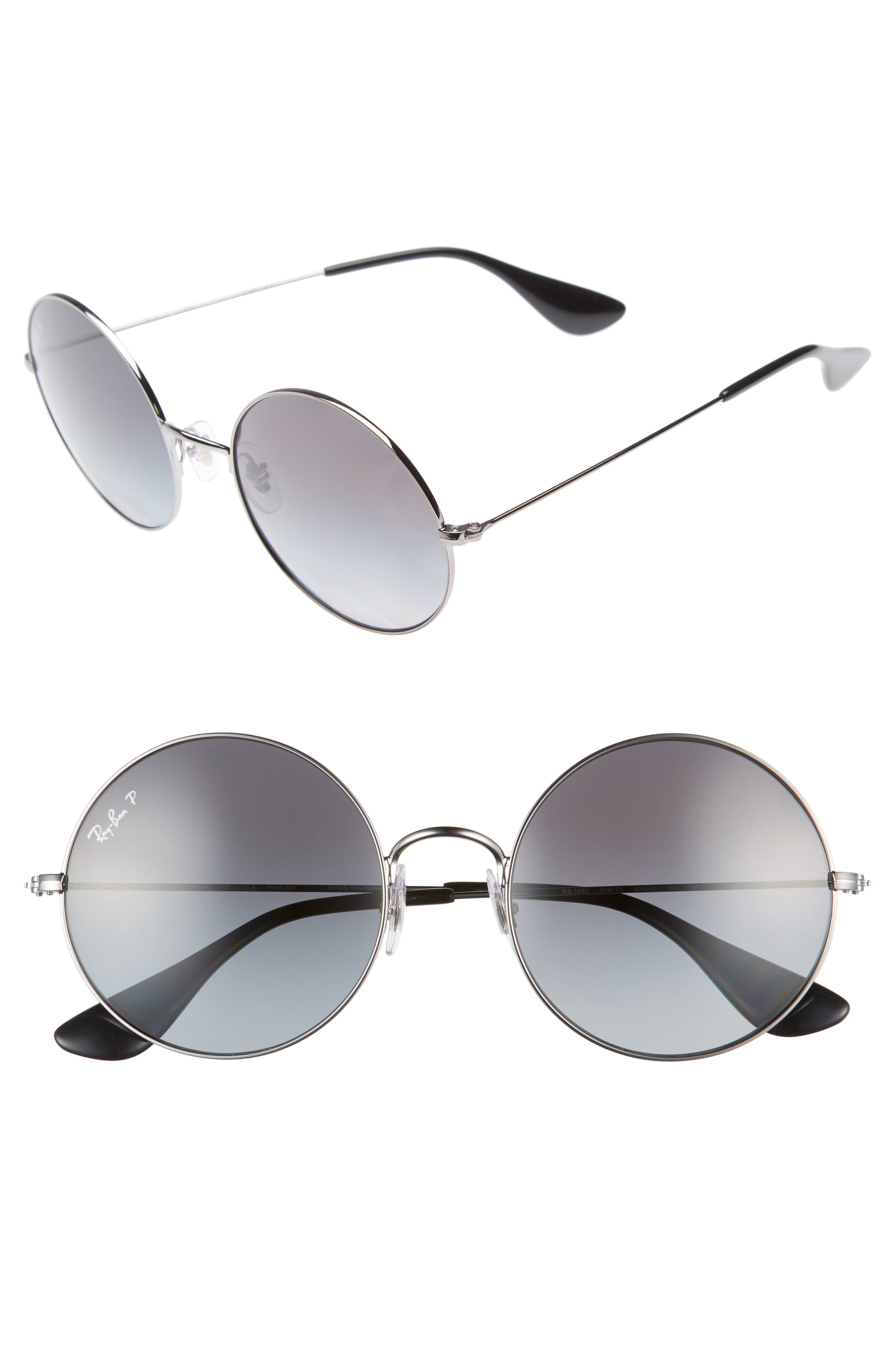 55mm Polarized Round Sunglasses,                             Main thumbnail 1, color,