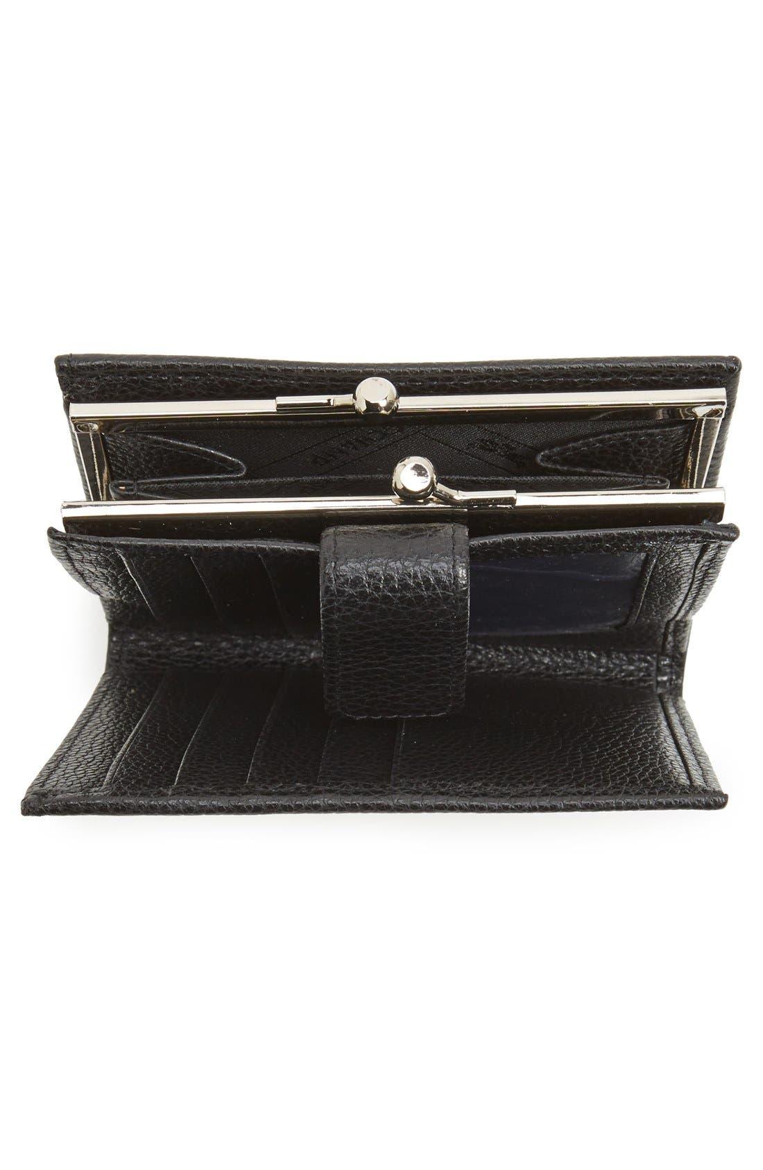 'Le Foulonne' Pebbled Leather Wallet,                             Alternate thumbnail 2, color,                             BLACK