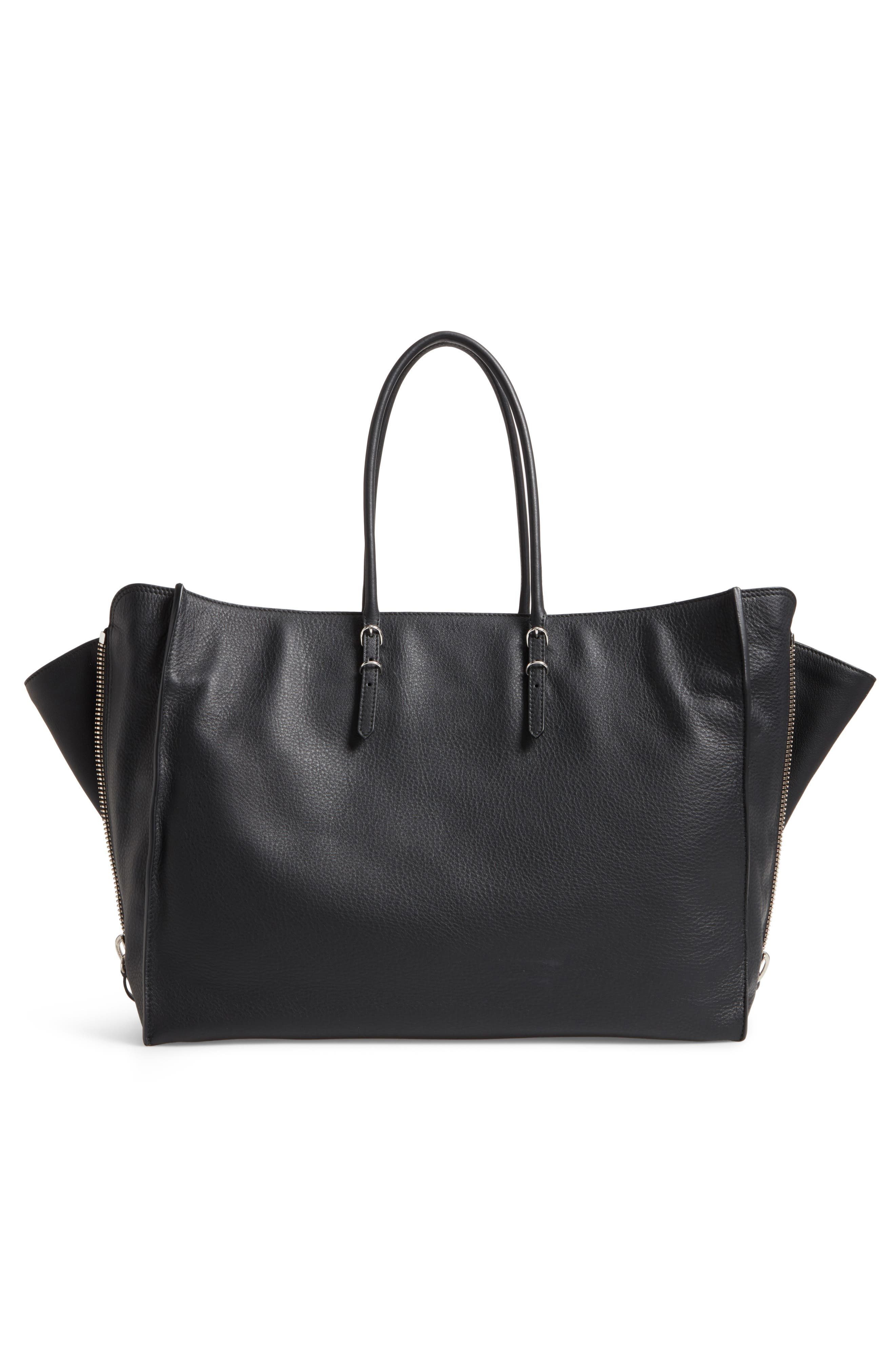 Papier A4 Zip Around Leather Tote,                             Alternate thumbnail 3, color,                             001