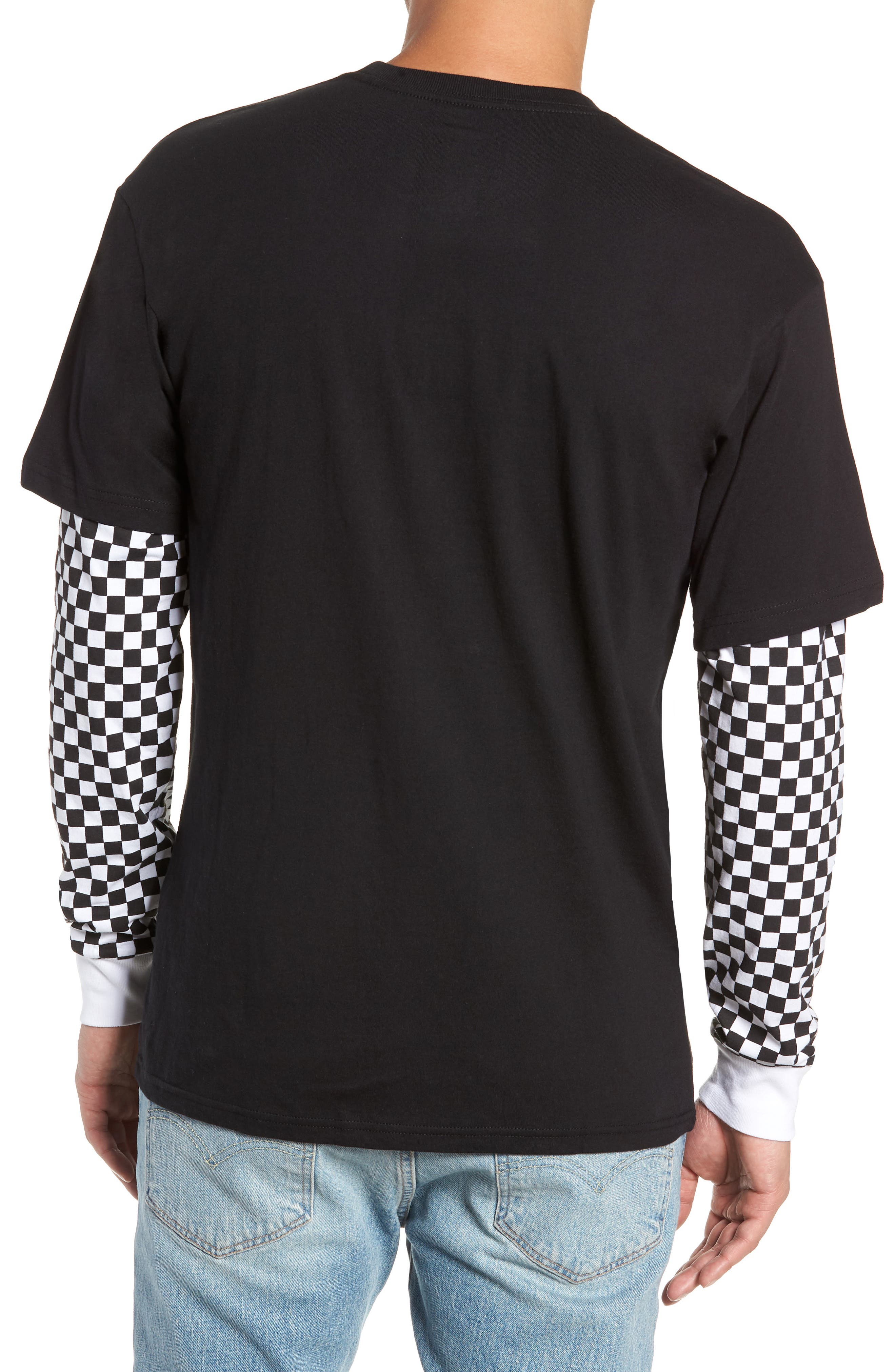 Checker Sleeve T-Shirt,                             Alternate thumbnail 2, color,                             001