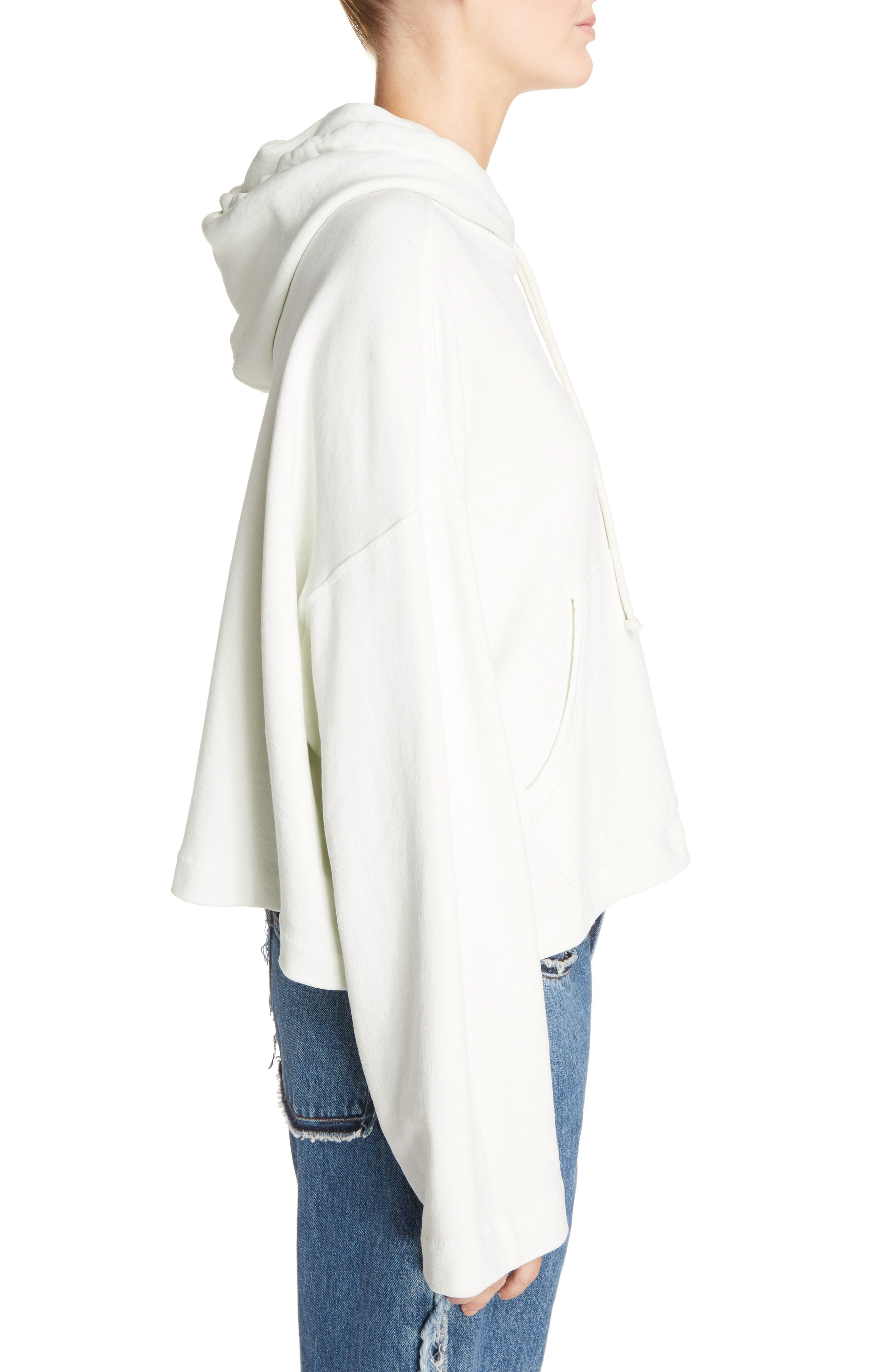 Joggy Crop Hoodie,                             Alternate thumbnail 3, color,                             ICE WHITE