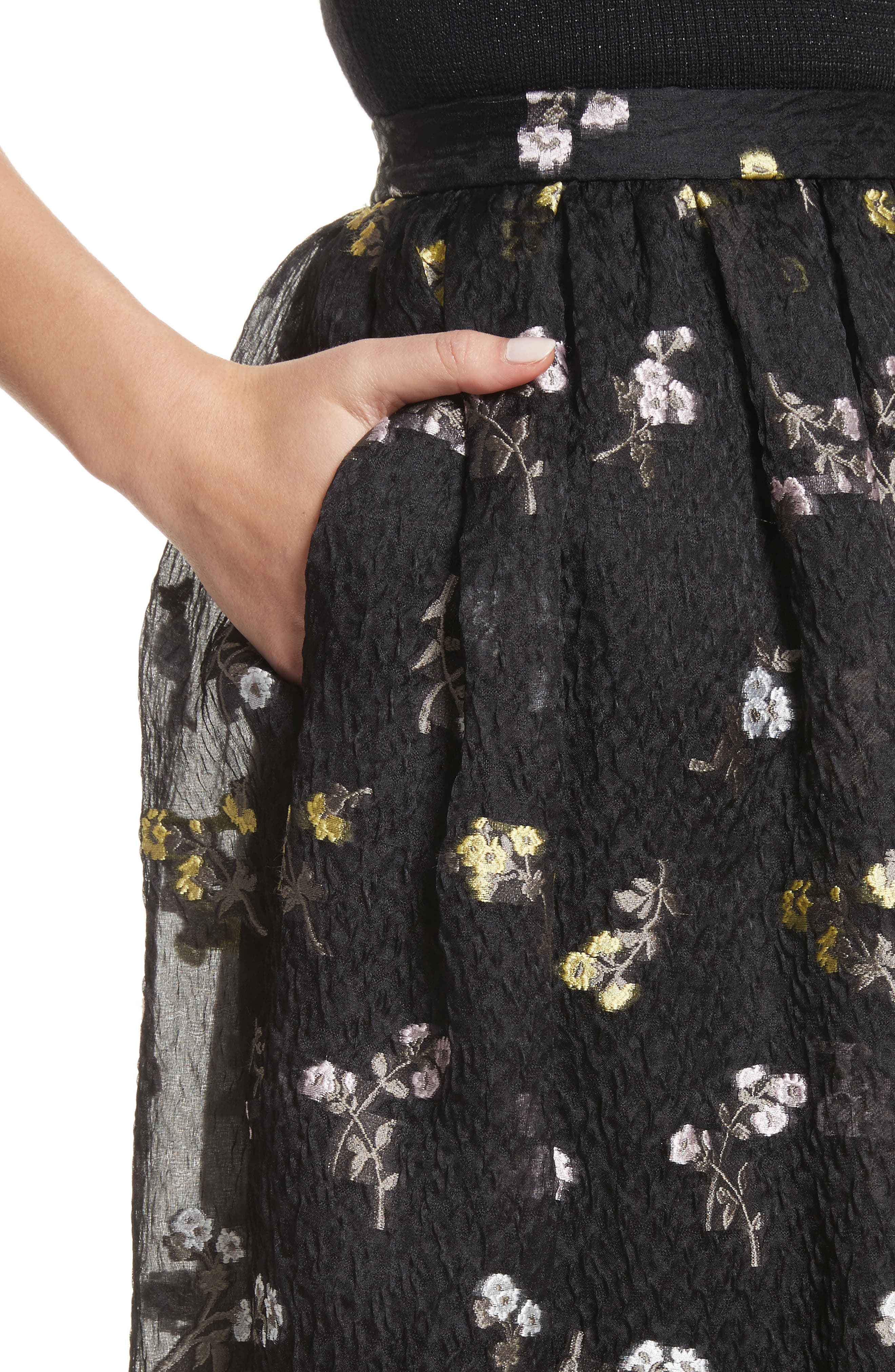 Floral Fil Coupé Organza Cloque Maxi Skirt,                             Alternate thumbnail 4, color,                             001