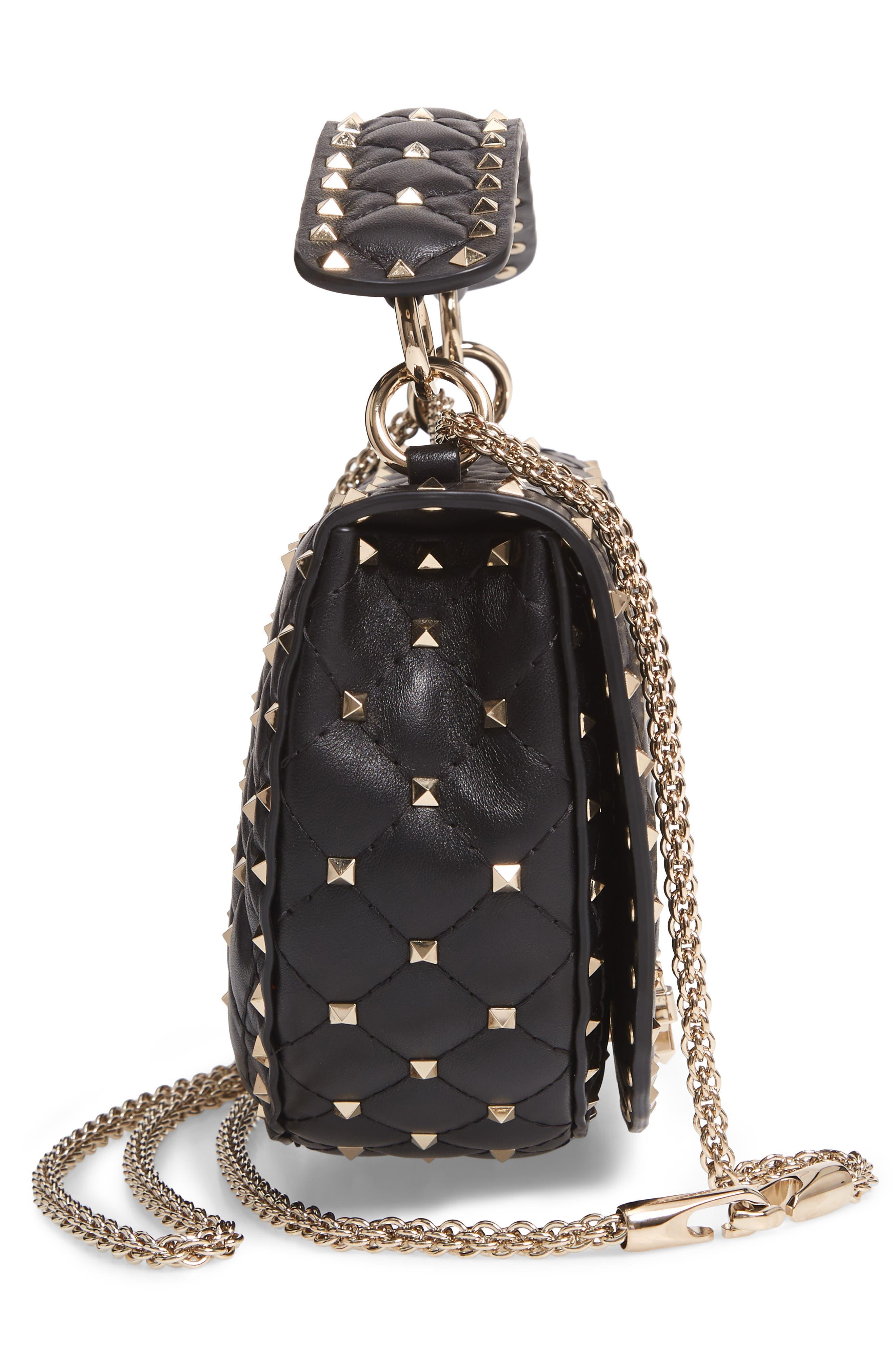 Rockstud Spike Leather Saddle Bag,                             Alternate thumbnail 5, color,                             NERO