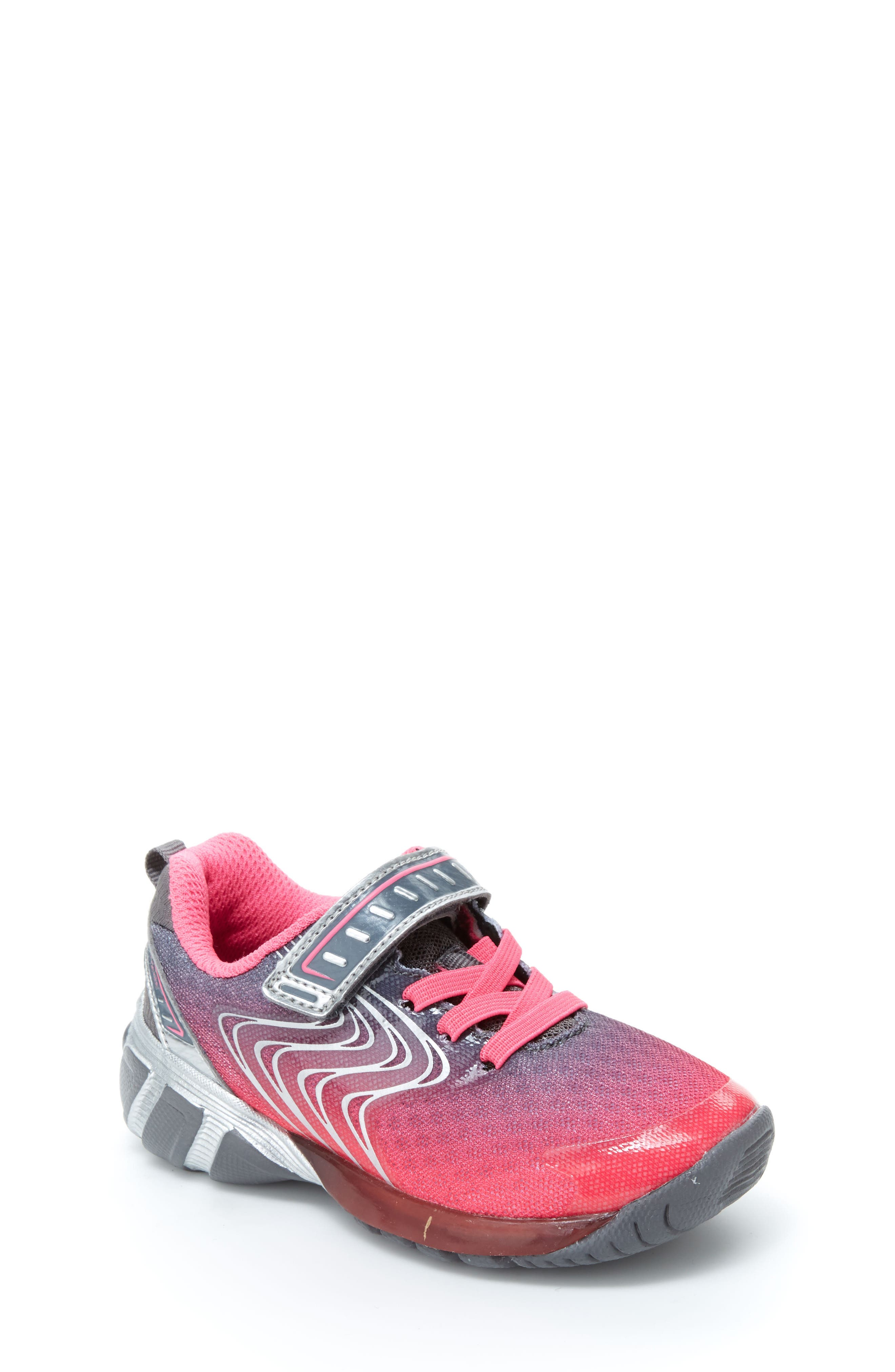 Lights Lux Light-Up Sneaker,                             Main thumbnail 1, color,                             PINK SYNTHETIC/ TEXTILE