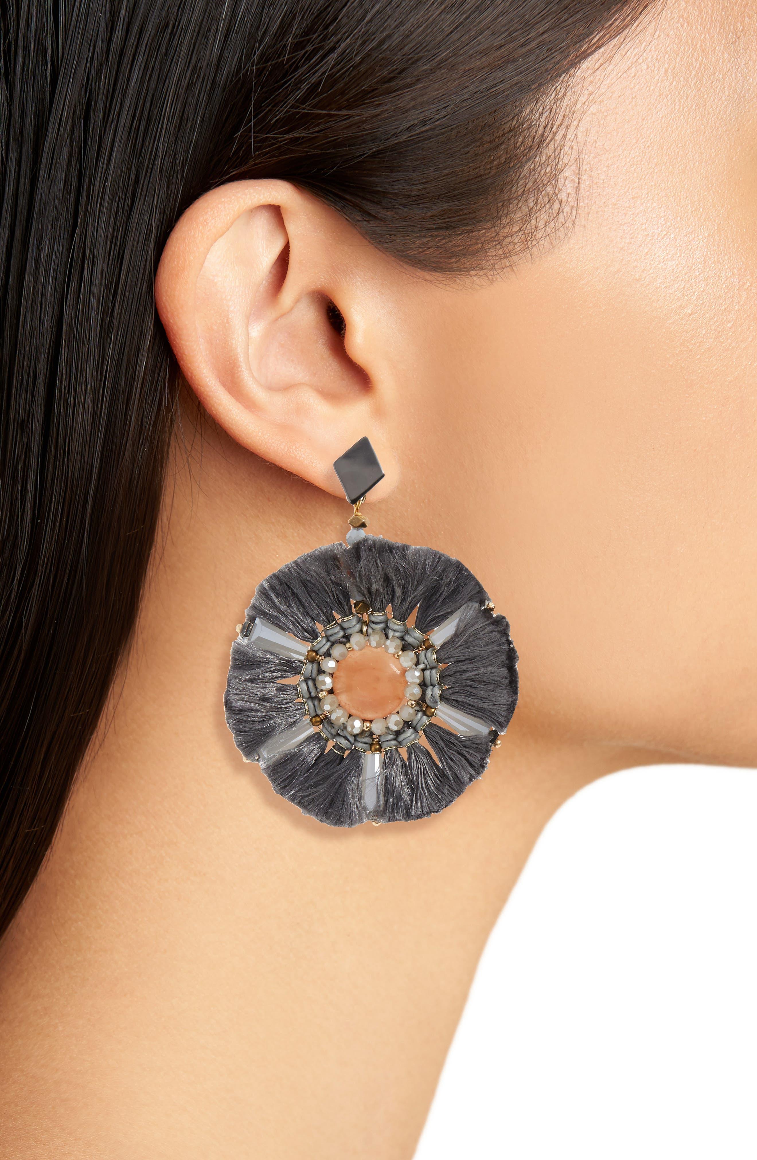 Agate & Fringe Statement Earrings,                             Alternate thumbnail 2, color,                             020