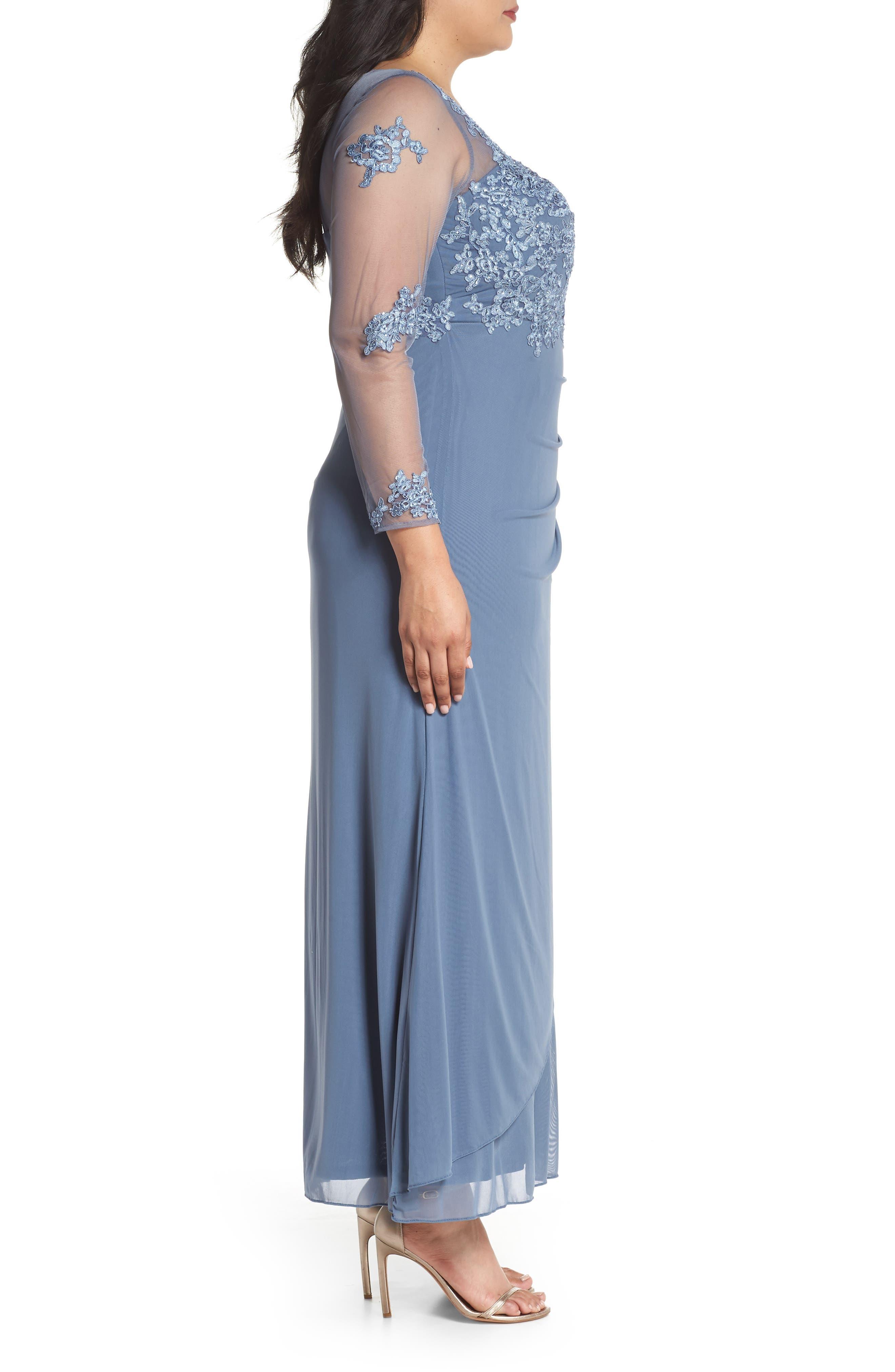 Embroidered Illusion Lace Gown,                             Alternate thumbnail 3, color,                             PERI
