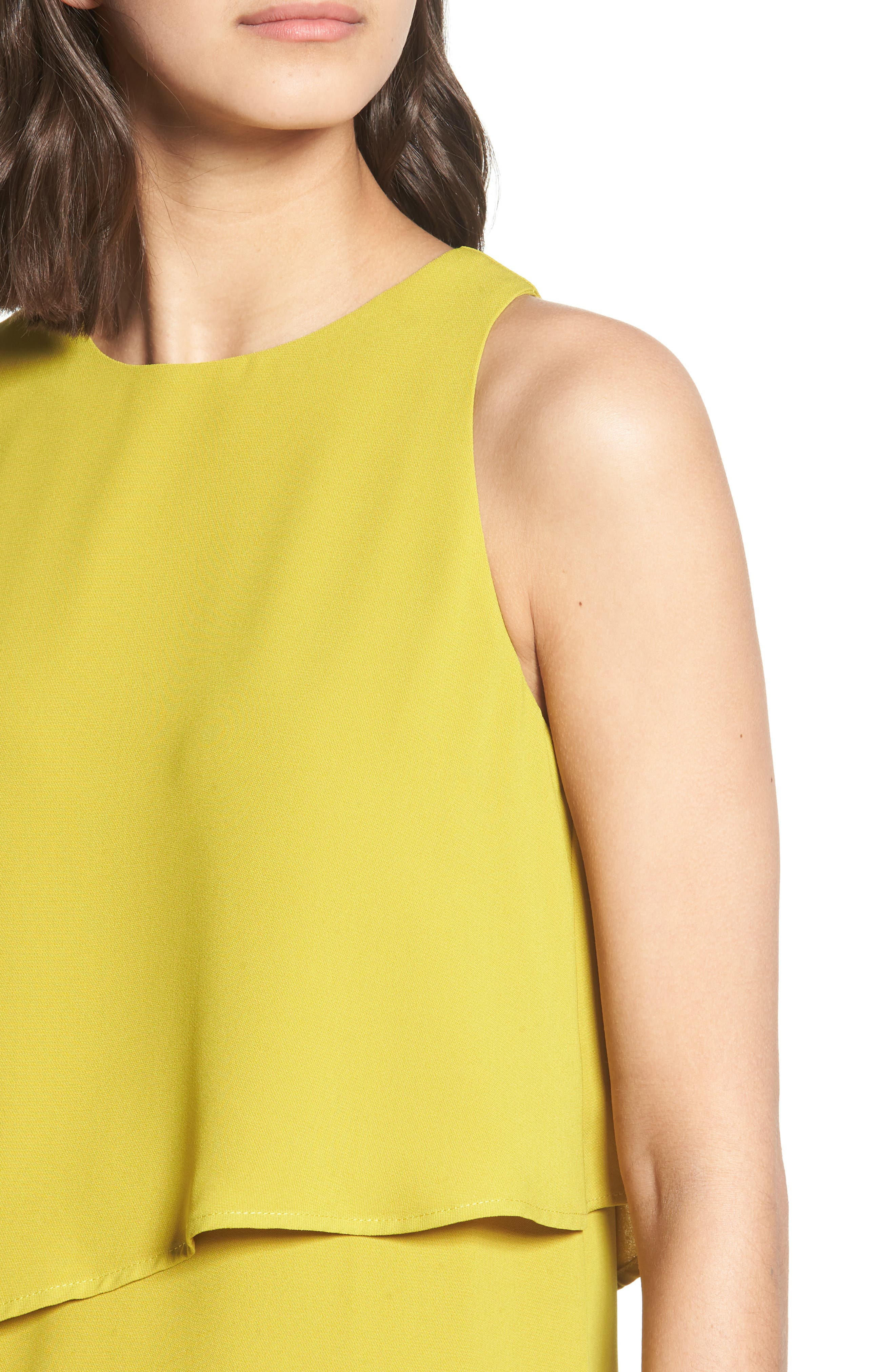 Tiered Sleeveless Top,                             Alternate thumbnail 4, color,                             OLIVE OIL