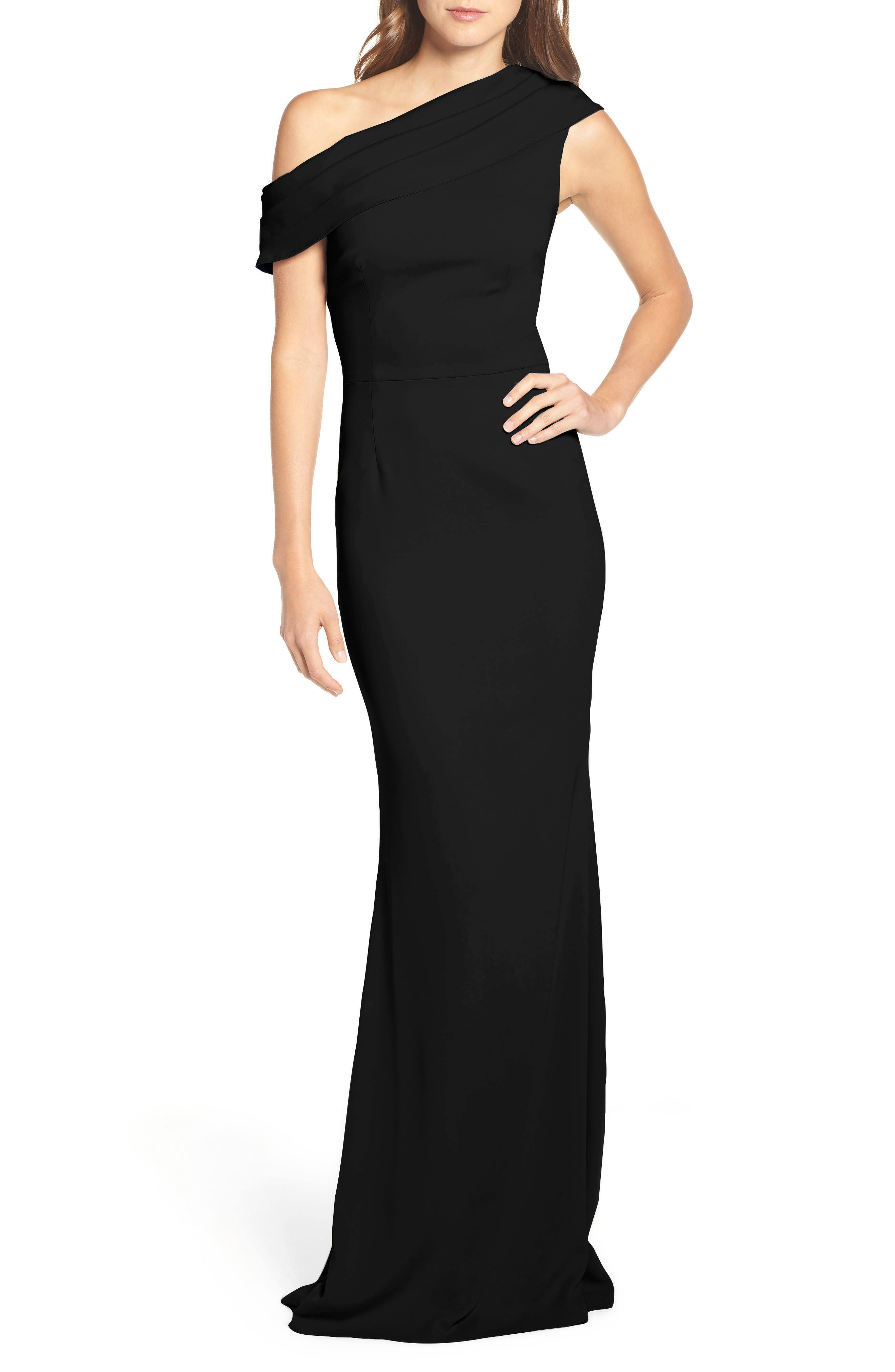 Layla Pleat One-Shoulder Crepe Gown,                             Alternate thumbnail 5, color,                             BLACK
