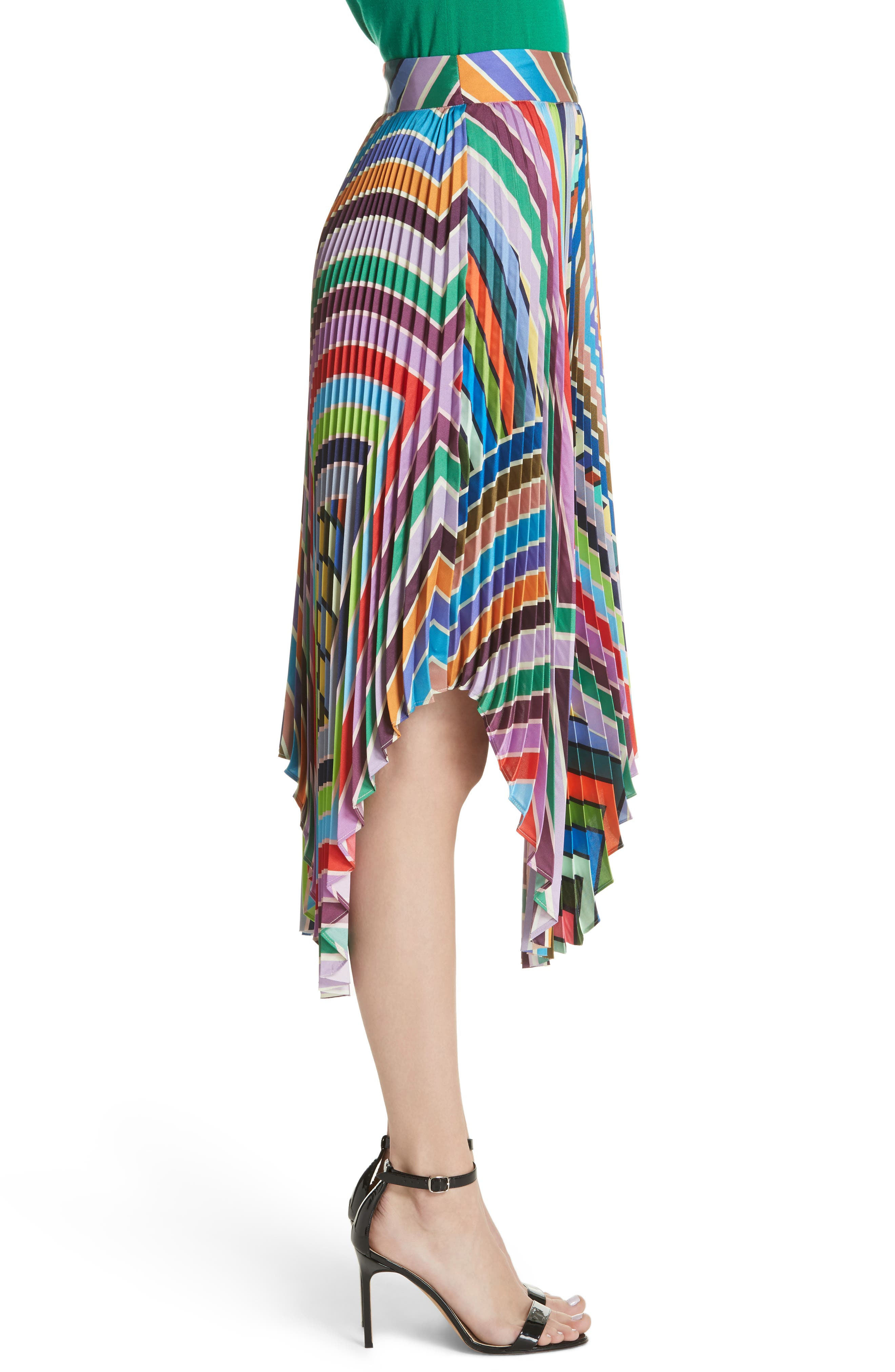 Stripe Pleated Handkerchief Skirt,                             Alternate thumbnail 3, color,                             464