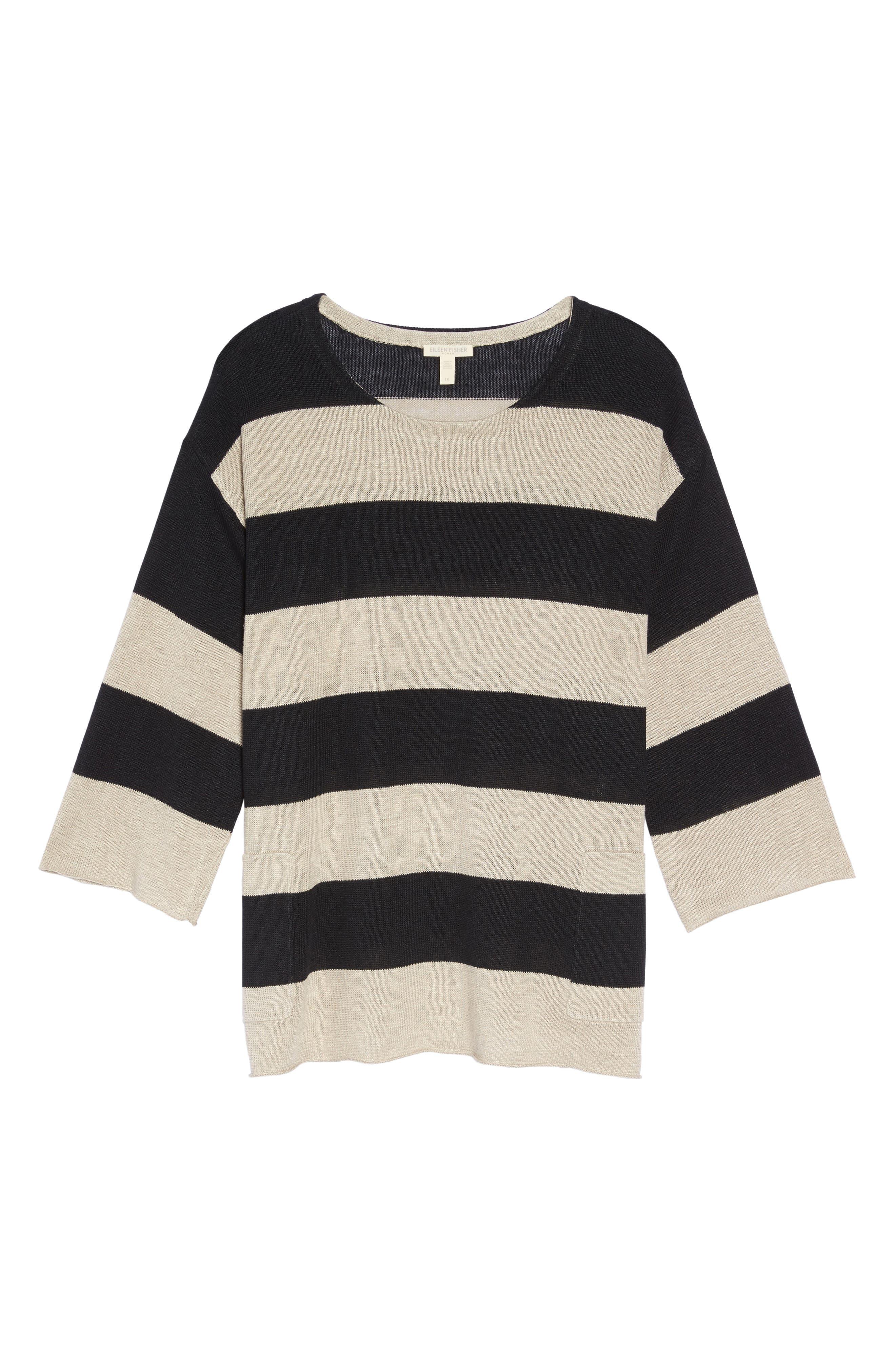 Stripe Linen Sweater,                             Alternate thumbnail 6, color,                             008