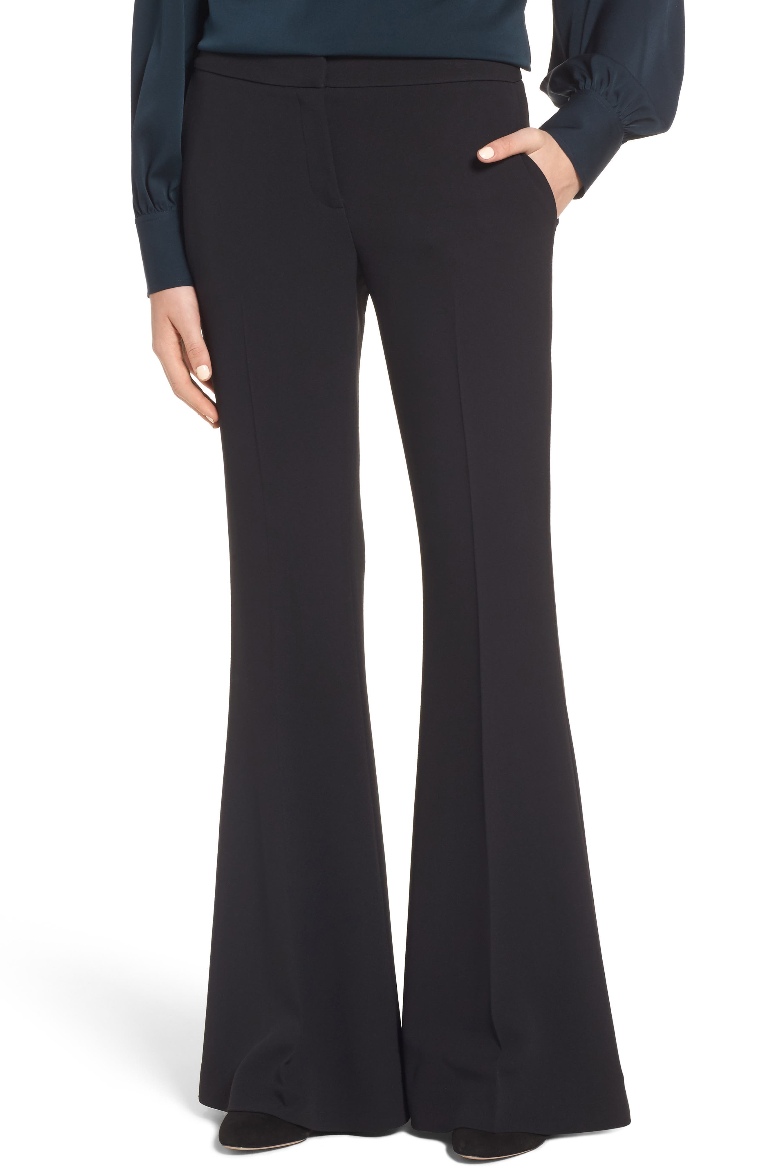 Flared Crepe Pants,                         Main,                         color, 001