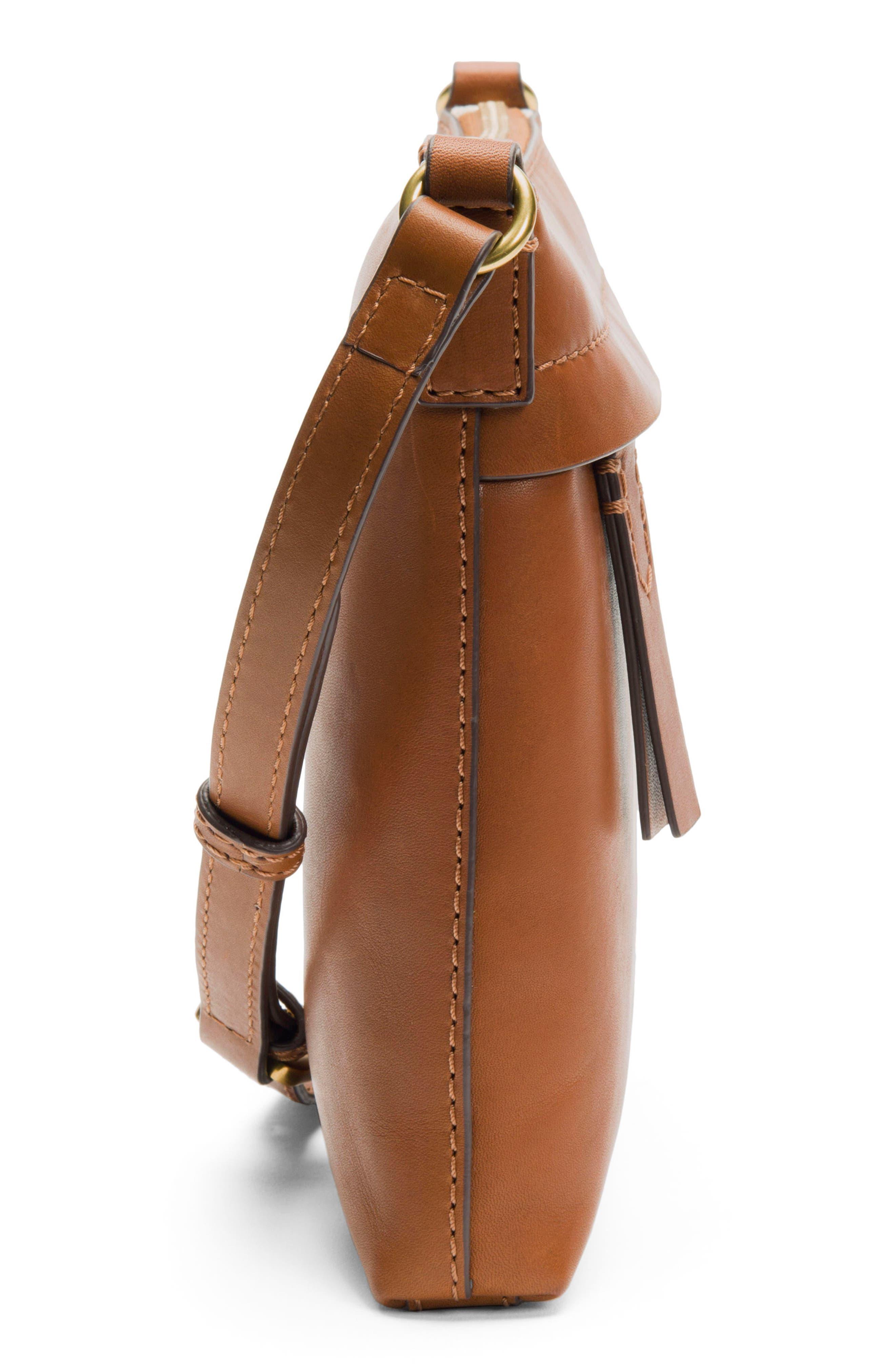 Carson Leather Crossbody Bag,                             Alternate thumbnail 4, color,                             COGNAC