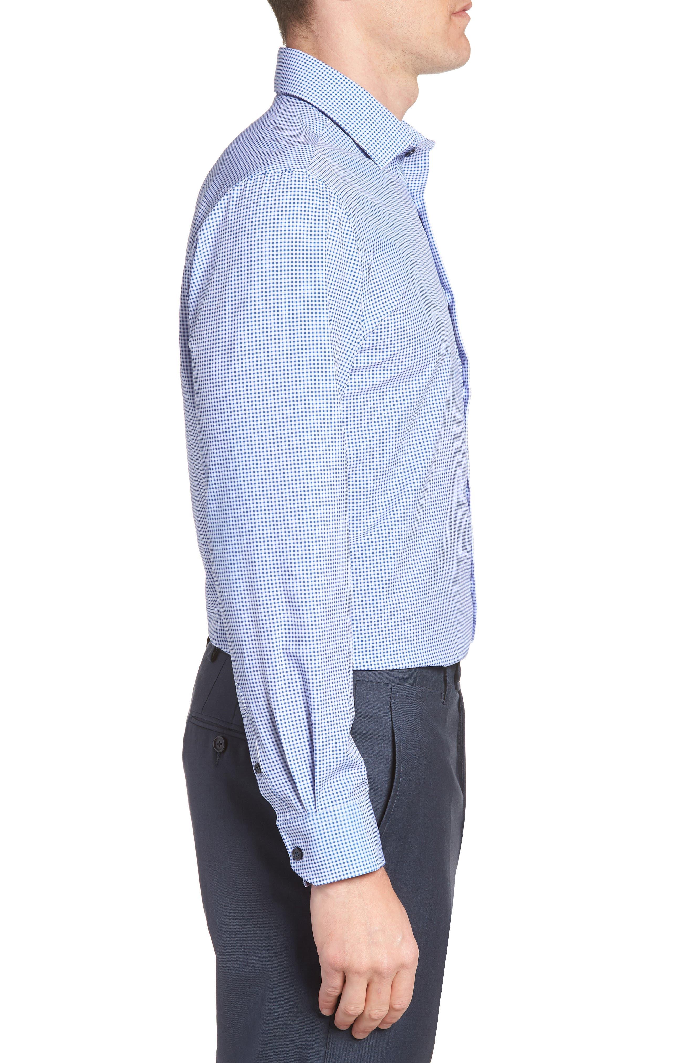 Trim Fit Check 4-Way Stretch Dress Shirt,                             Alternate thumbnail 4, color,                             LILAC