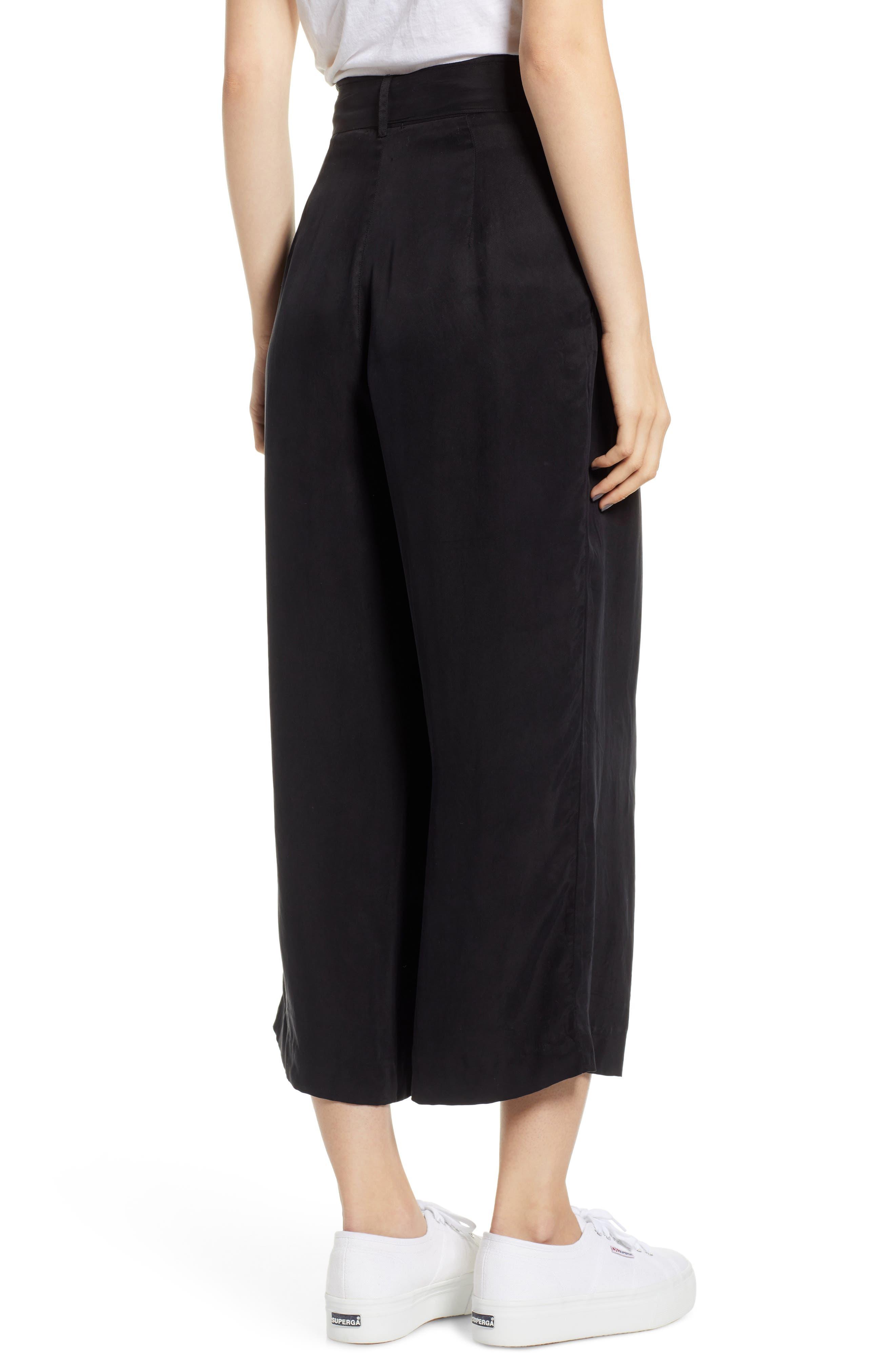 Jenna Cupro Wide Leg Pants,                             Alternate thumbnail 2, color,                             BLACK