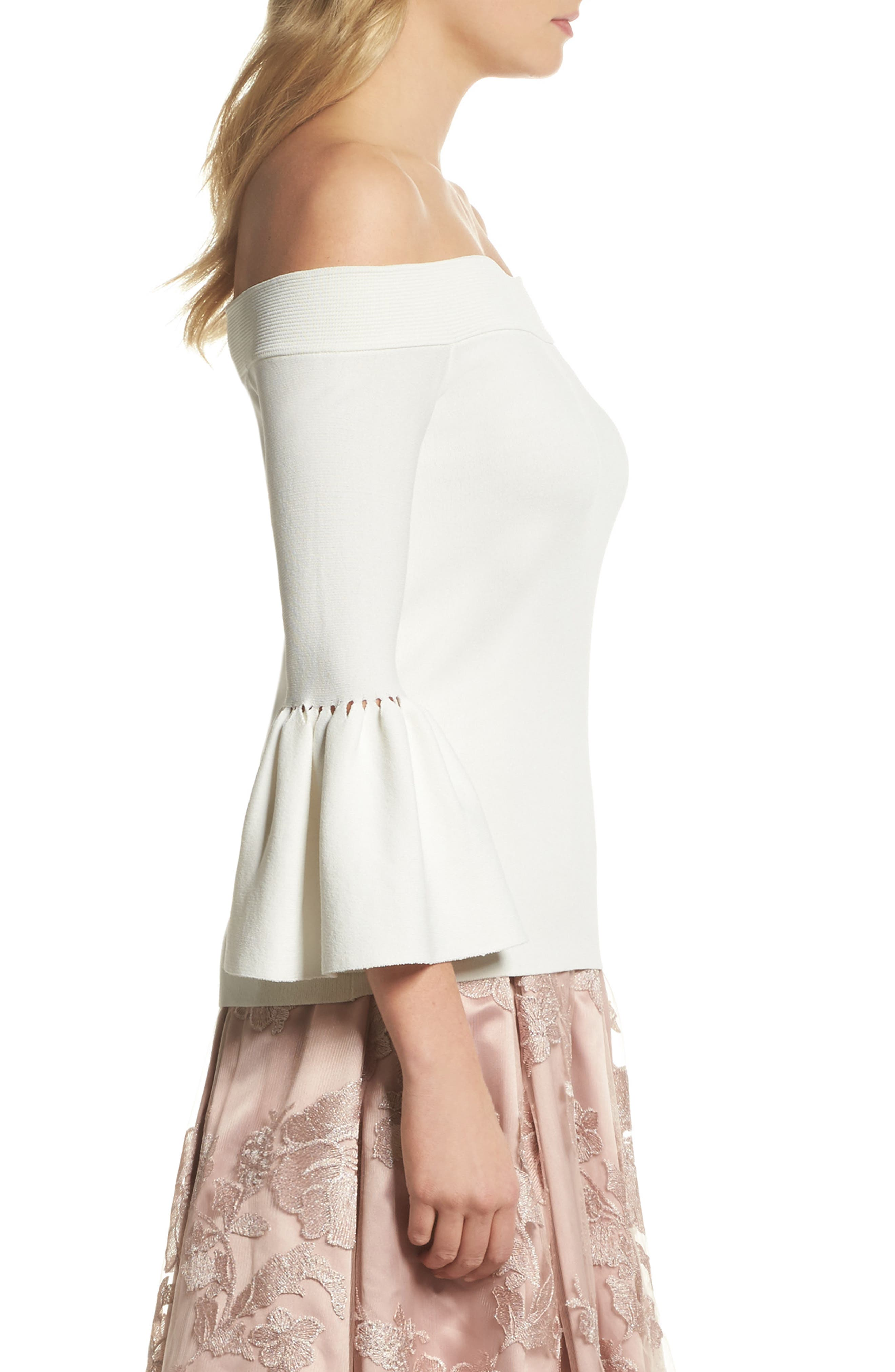 Off the Shoulder Bell Sleeve Top,                             Alternate thumbnail 6, color,