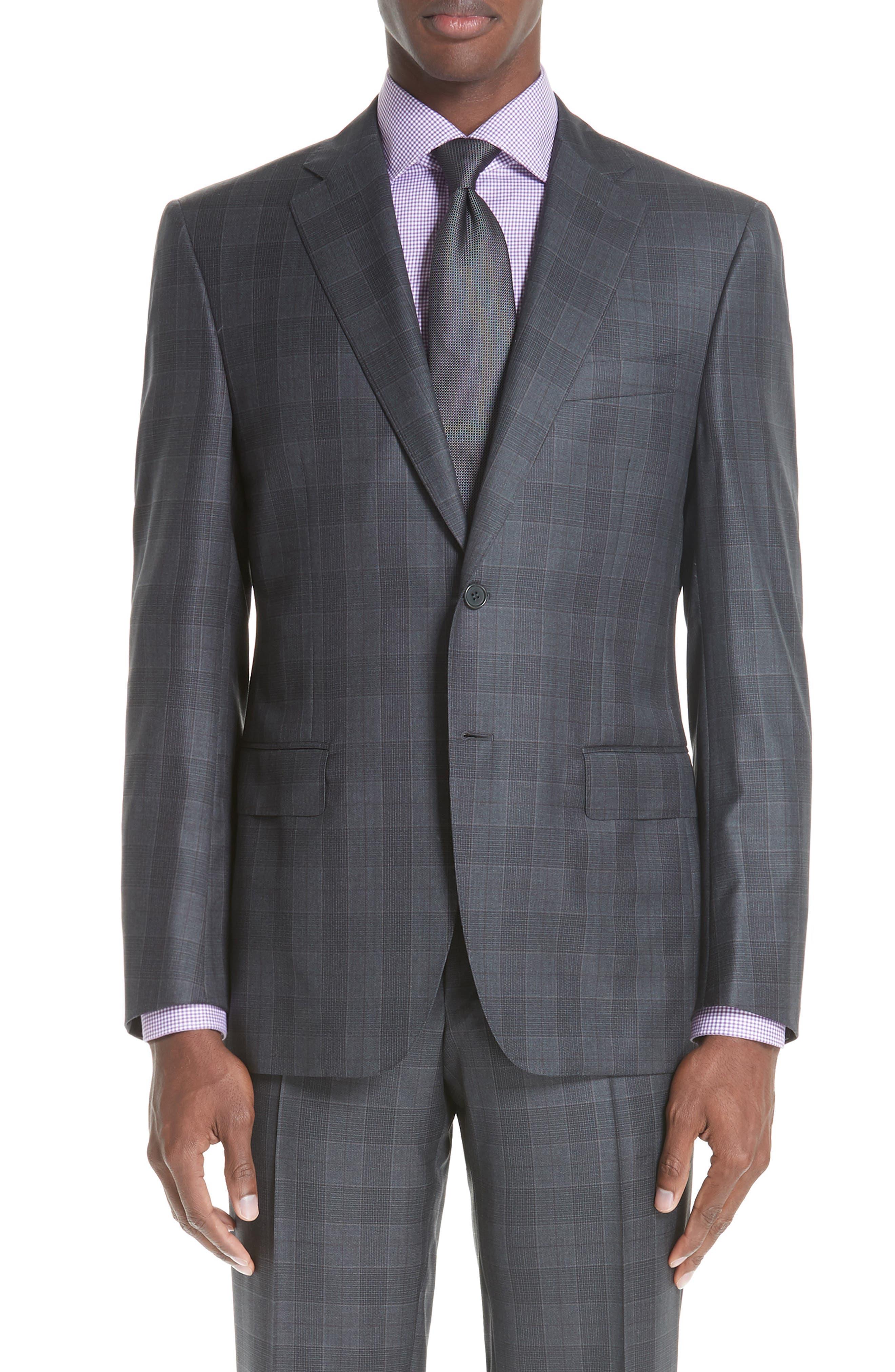 Classic Fit Plaid Wool Suit,                             Alternate thumbnail 5, color,                             CHARCOAL