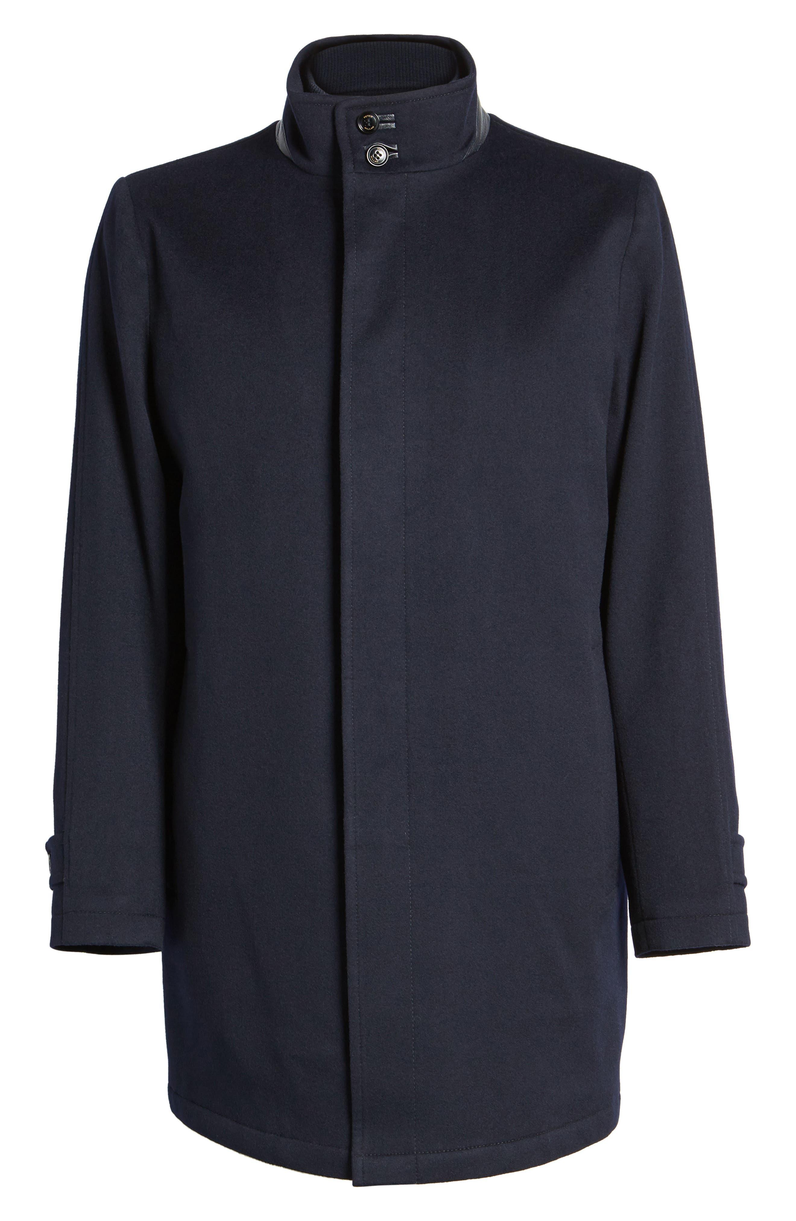 Peter Millar Horizon Wool Overcoat,                             Alternate thumbnail 5, color,                             001