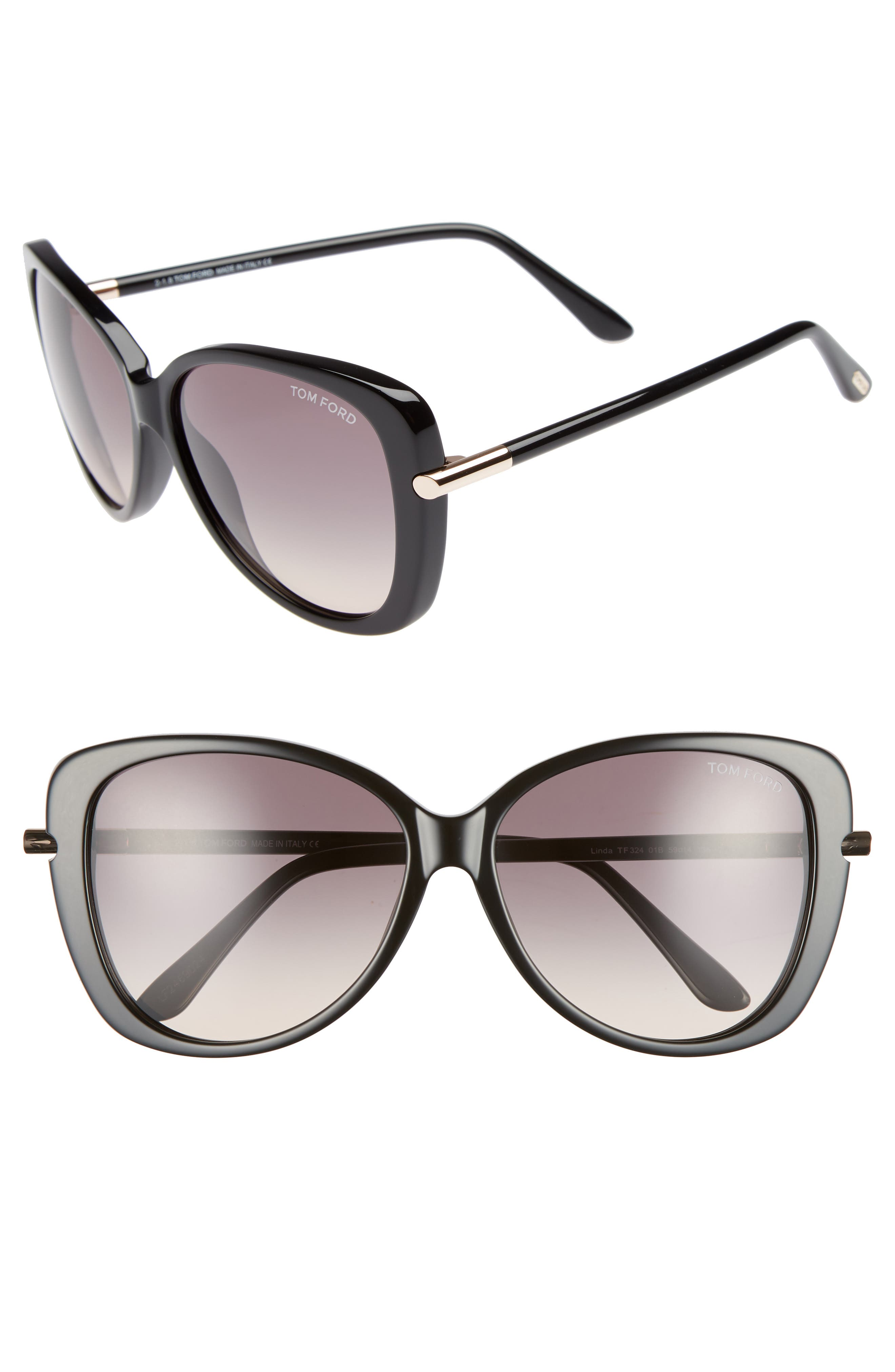 'Linda' 59mm Sunglasses,                         Main,                         color, SHINY BLACK