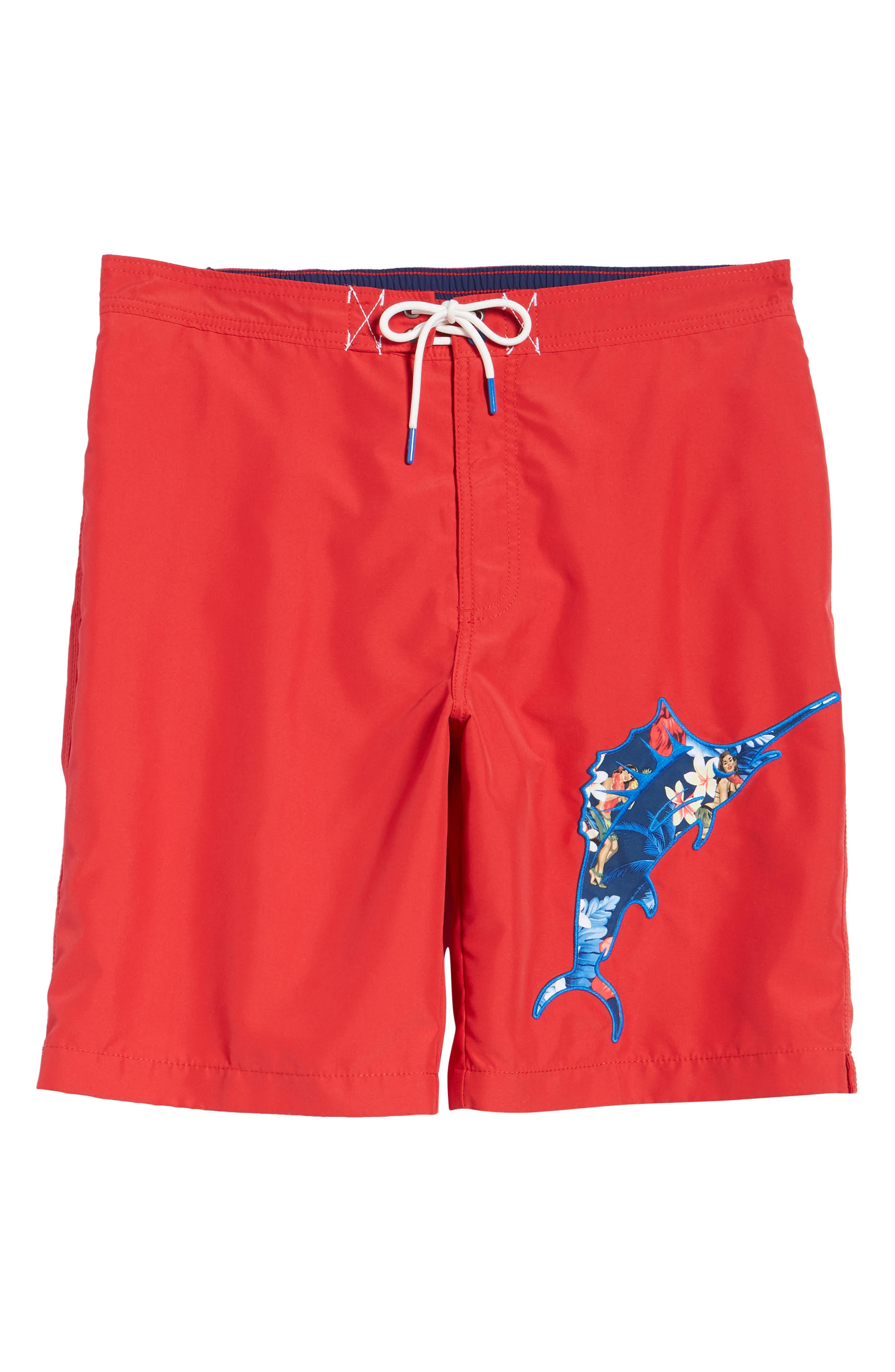 Baja Hula Holiday Marlin Board Shorts,                             Alternate thumbnail 6, color,                             600