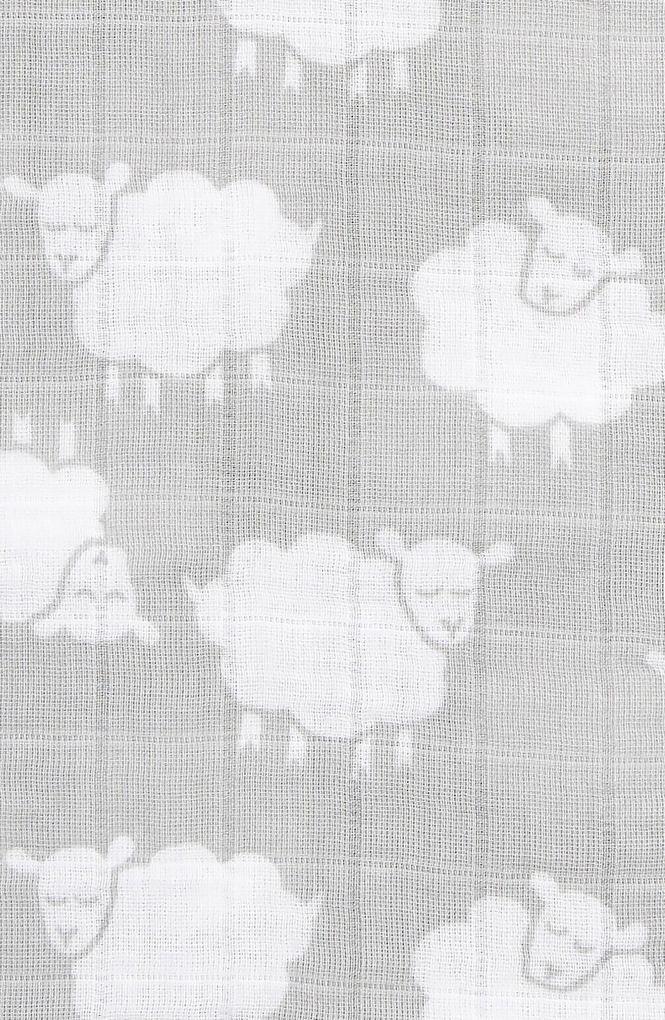 Cotton Swaddle Blanket,                             Alternate thumbnail 2, color,                             GREY MICRO SHEEP