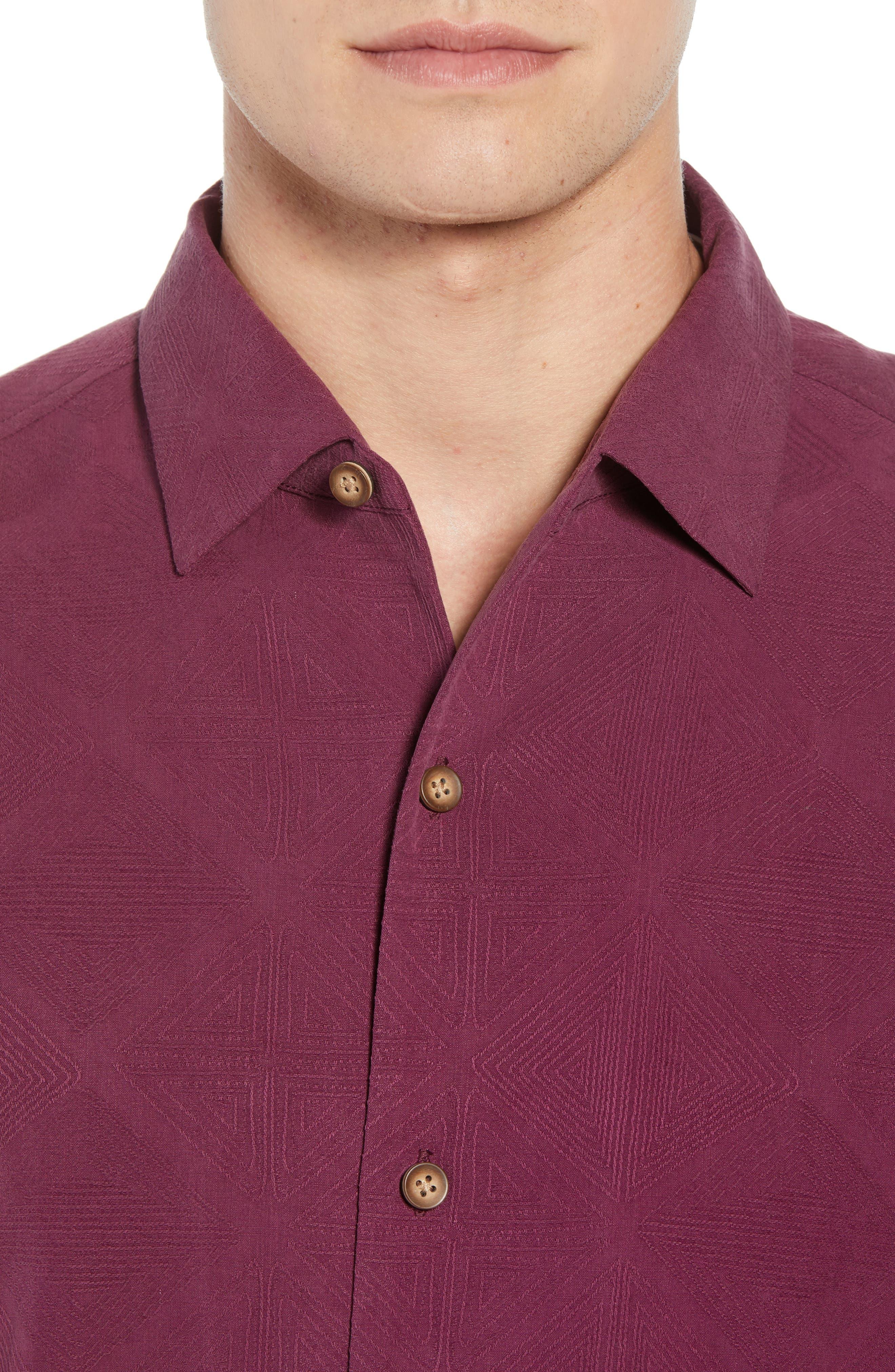 Pura Vino Embroidered Silk Sport Shirt,                             Alternate thumbnail 4, color,                             GRAPE WINE